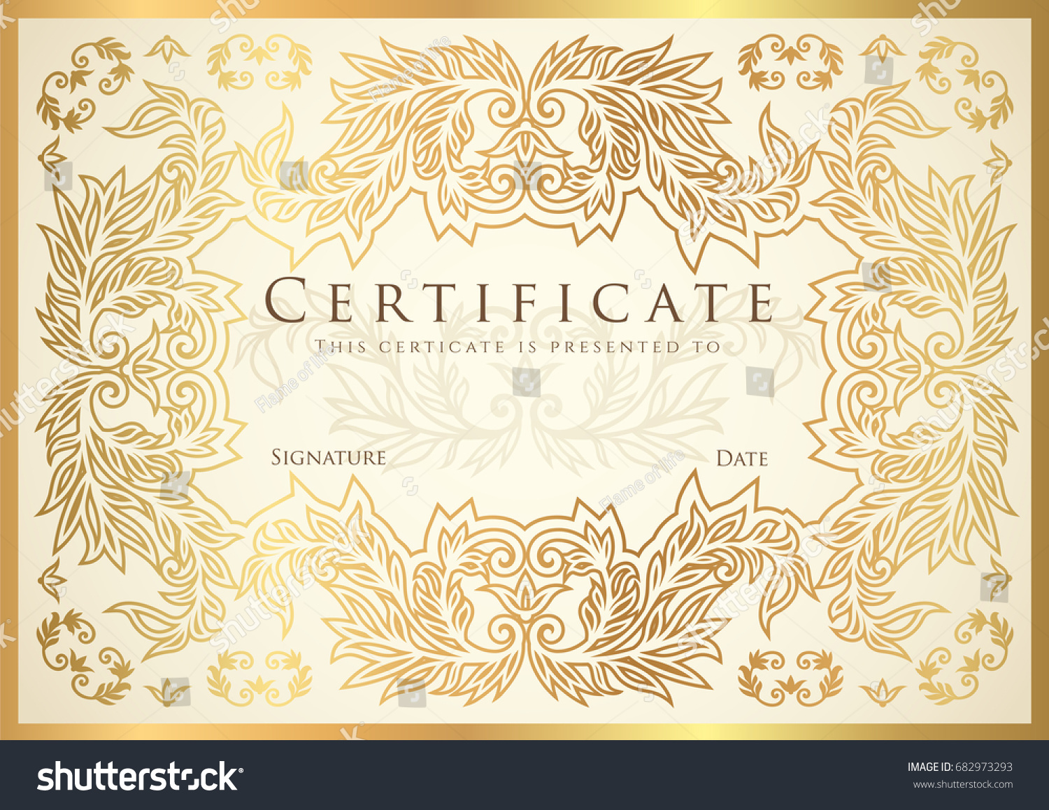 Certificate diploma completion golden design template stock vector certificate diploma of completion golden design template white background with floral yadclub Gallery