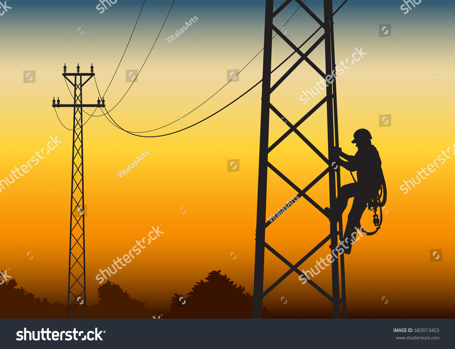 Electrician Climbing Tower Against Sunset Flat Stock Vector Royalty Free 683013403