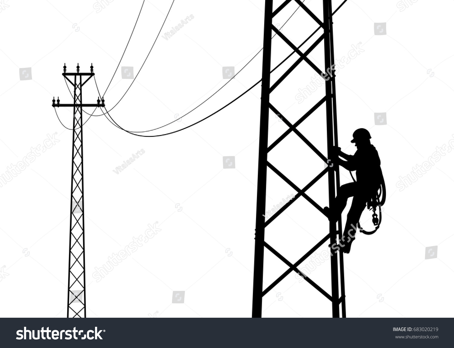 Electrician Climbing Tower Against Sunset Black Stock Vector Royalty Free 683020219