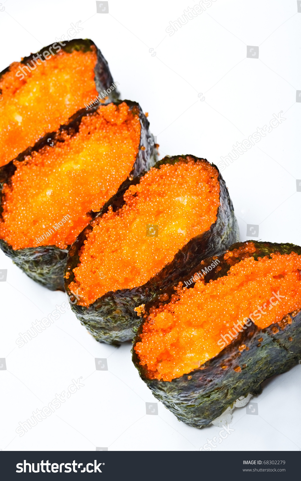 Japanese sushi with fish eggs rice and seaweed stock for Sushi fish names