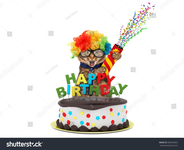 Admirable Funny Cat Happy Birthday Cake Wearing Stock Photo Edit Now 683024965 Personalised Birthday Cards Xaembasilily Jamesorg