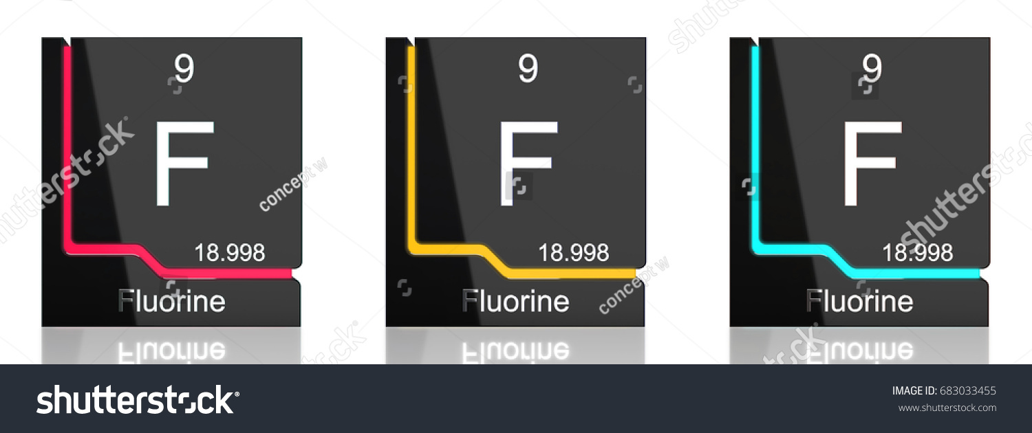 Fluorine Element Symbol Periodic Table Three Stock Illustration