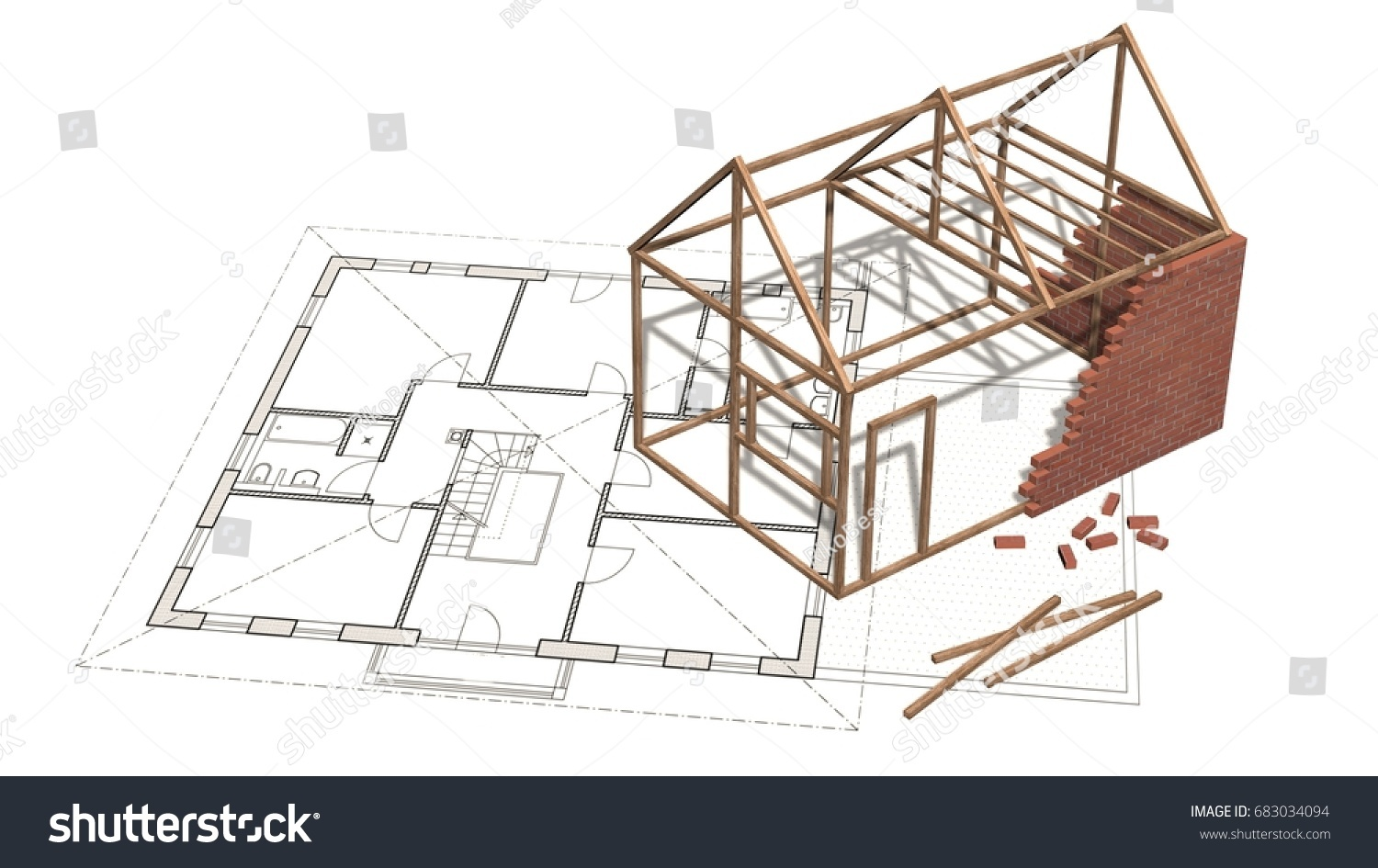 House under construction on blueprint project stock illustration house under construction on blueprint project for construction industry 3d render malvernweather Gallery