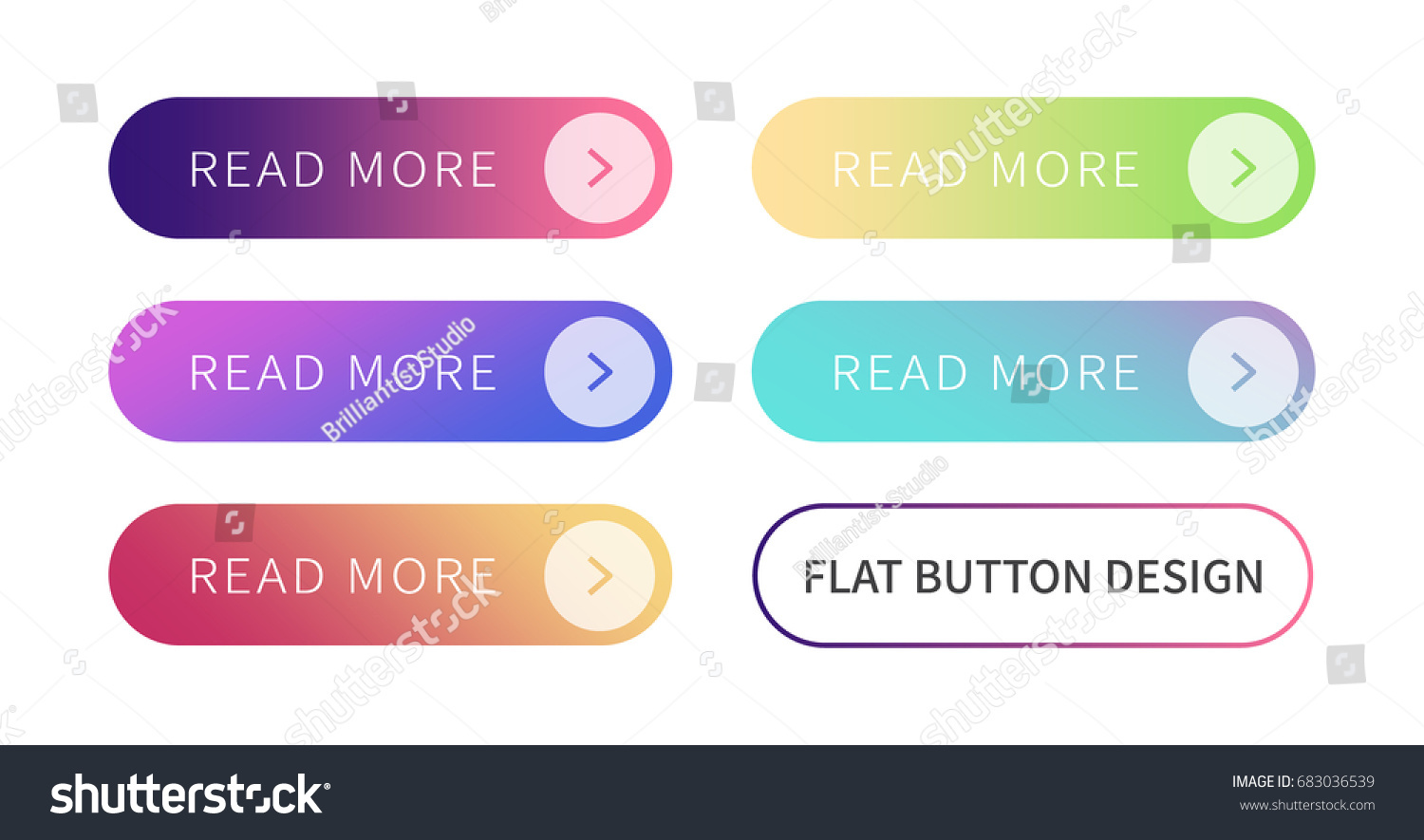 Call to action buttons set flat design ; Read more Button.Vector illustration buttons with colorful gradient or color transition for your brilliant Web button, mobile devices, icons, banner & more. #683036539