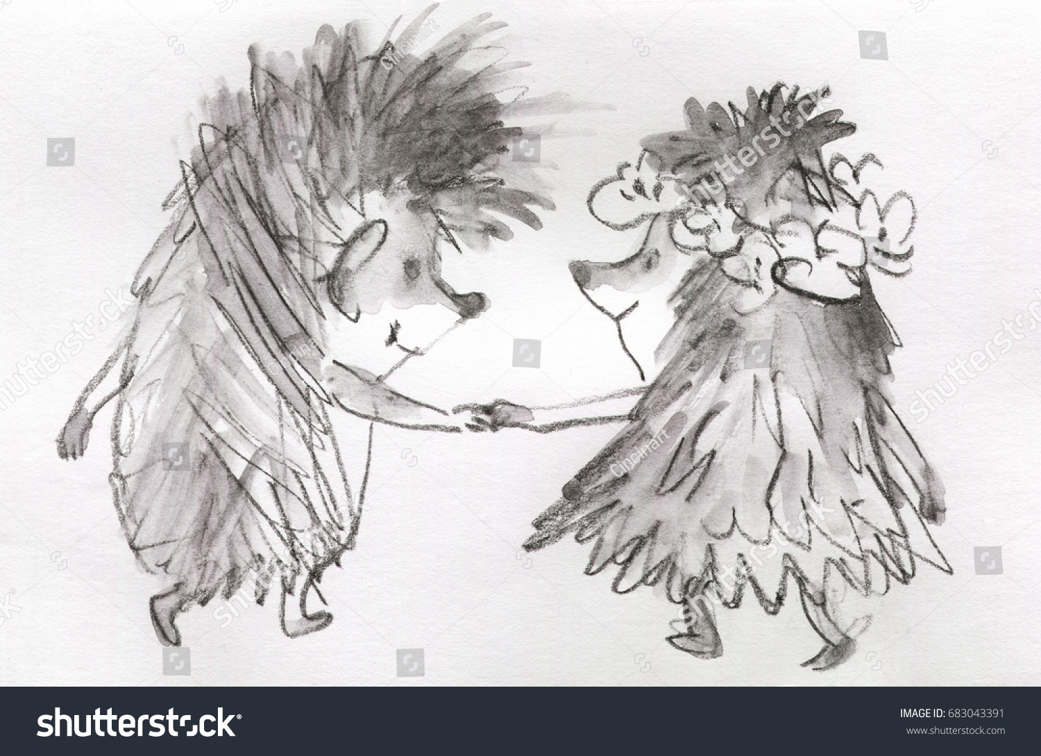 Graphic cute couple of hedgehogs characters hand drawn sketching summer vintage greeting card in