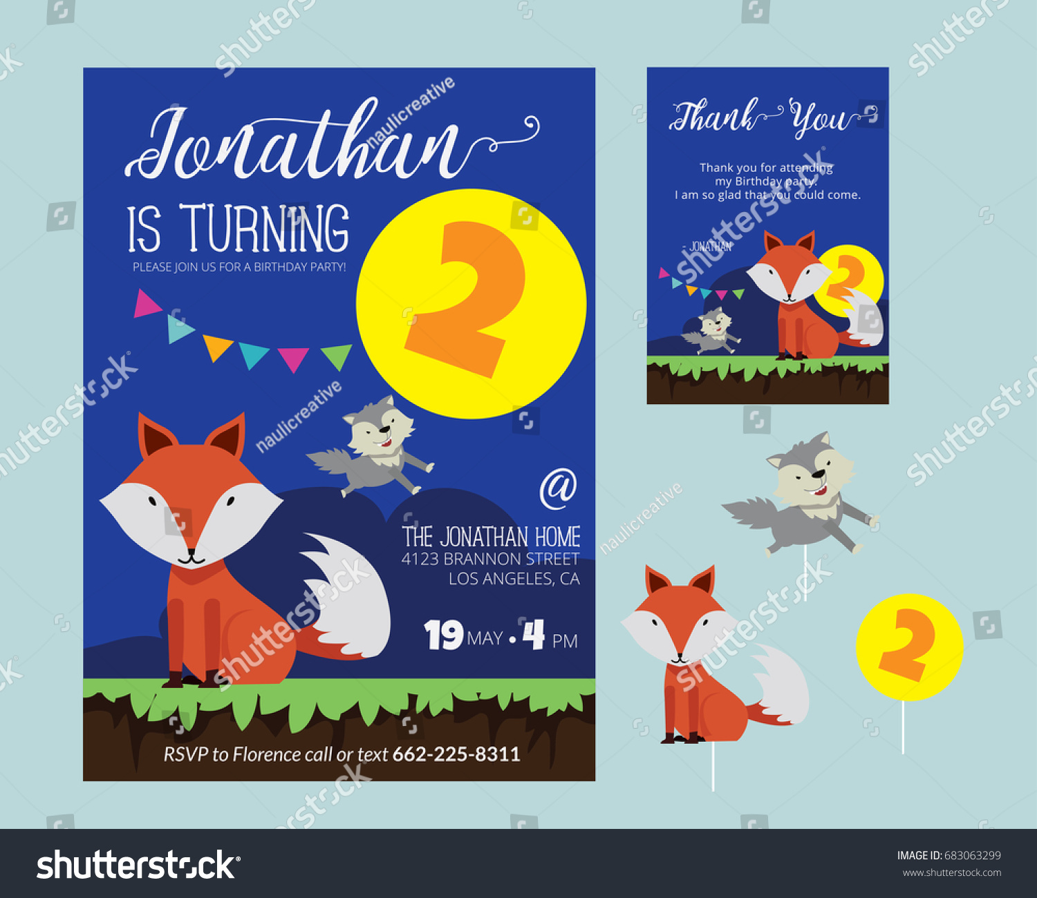 Cute Animal Theme Birthday Party Invitation Stock Vector 683063299 ...