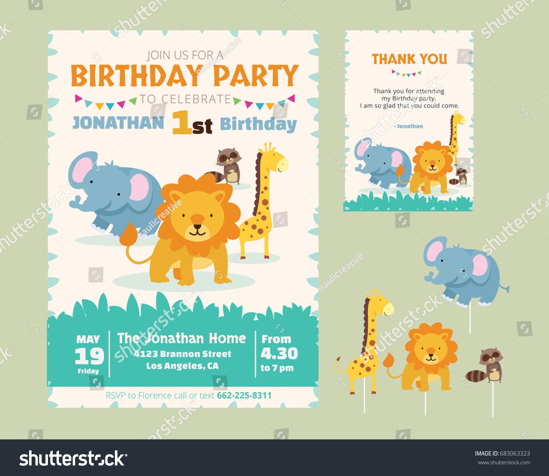 Cute Animal Theme Birthday Party Invitation Stock Vektorgrafik