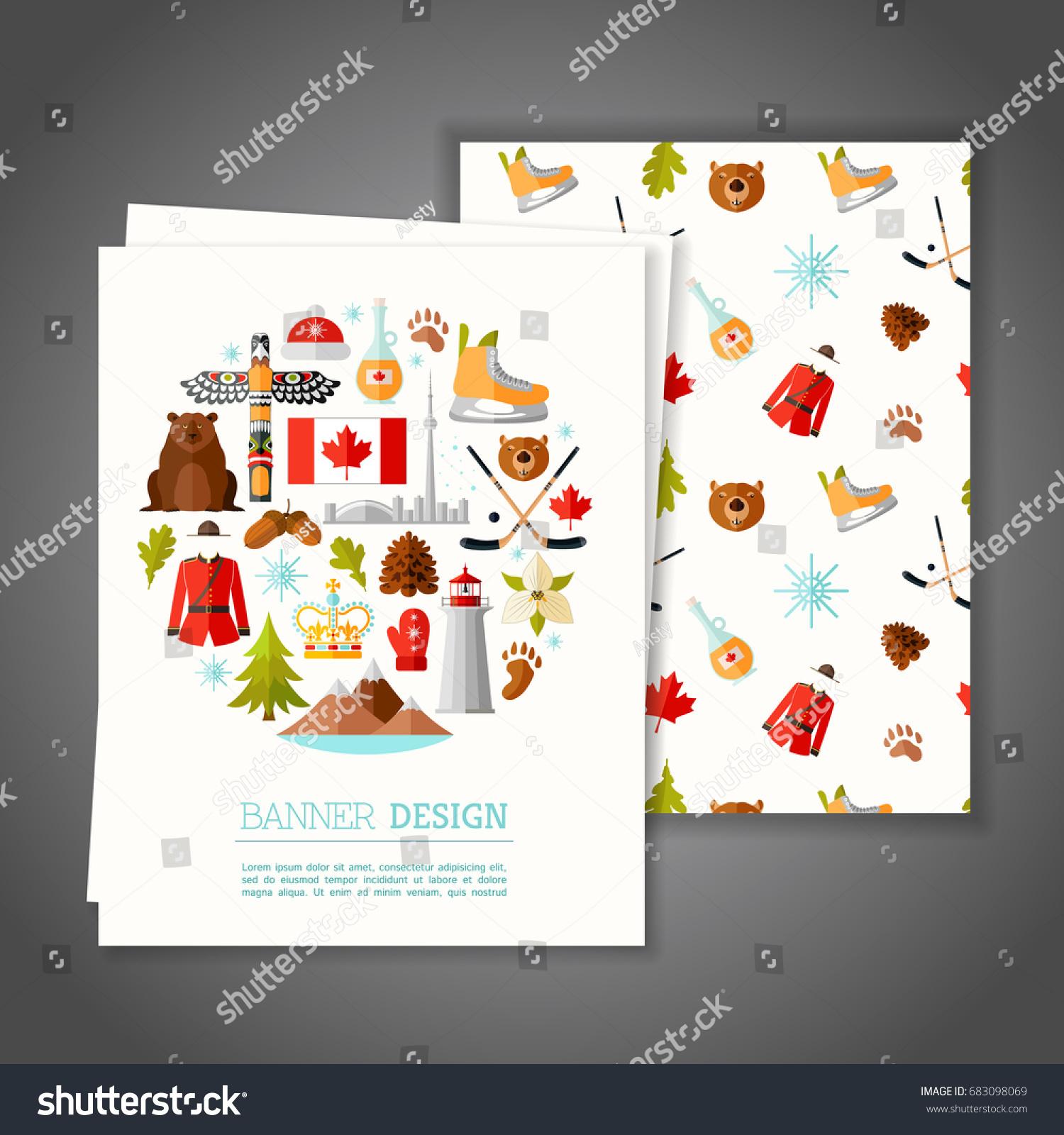 Cards National Symbols Canada Greeting Invitation Stock Vector