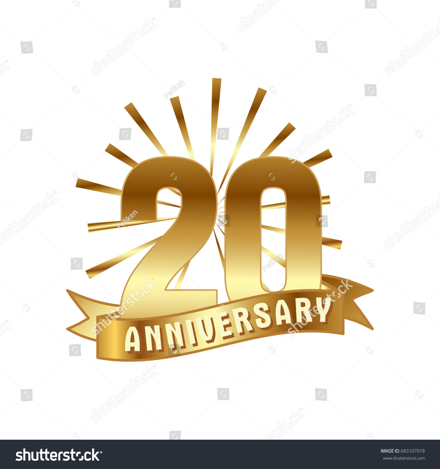 Anniversary golden twenty years number 20th stock vector 683107018 anniversary golden twenty years number 20th years festive logo and greeting with sunburst for invitation kristyandbryce Choice Image