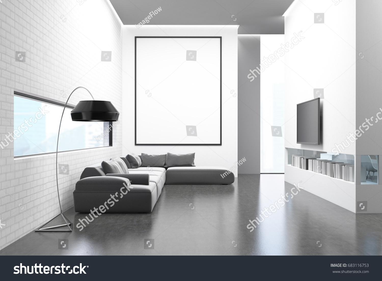 White Brick Wall Living Room Gray Stock Illustration 683116753 ...