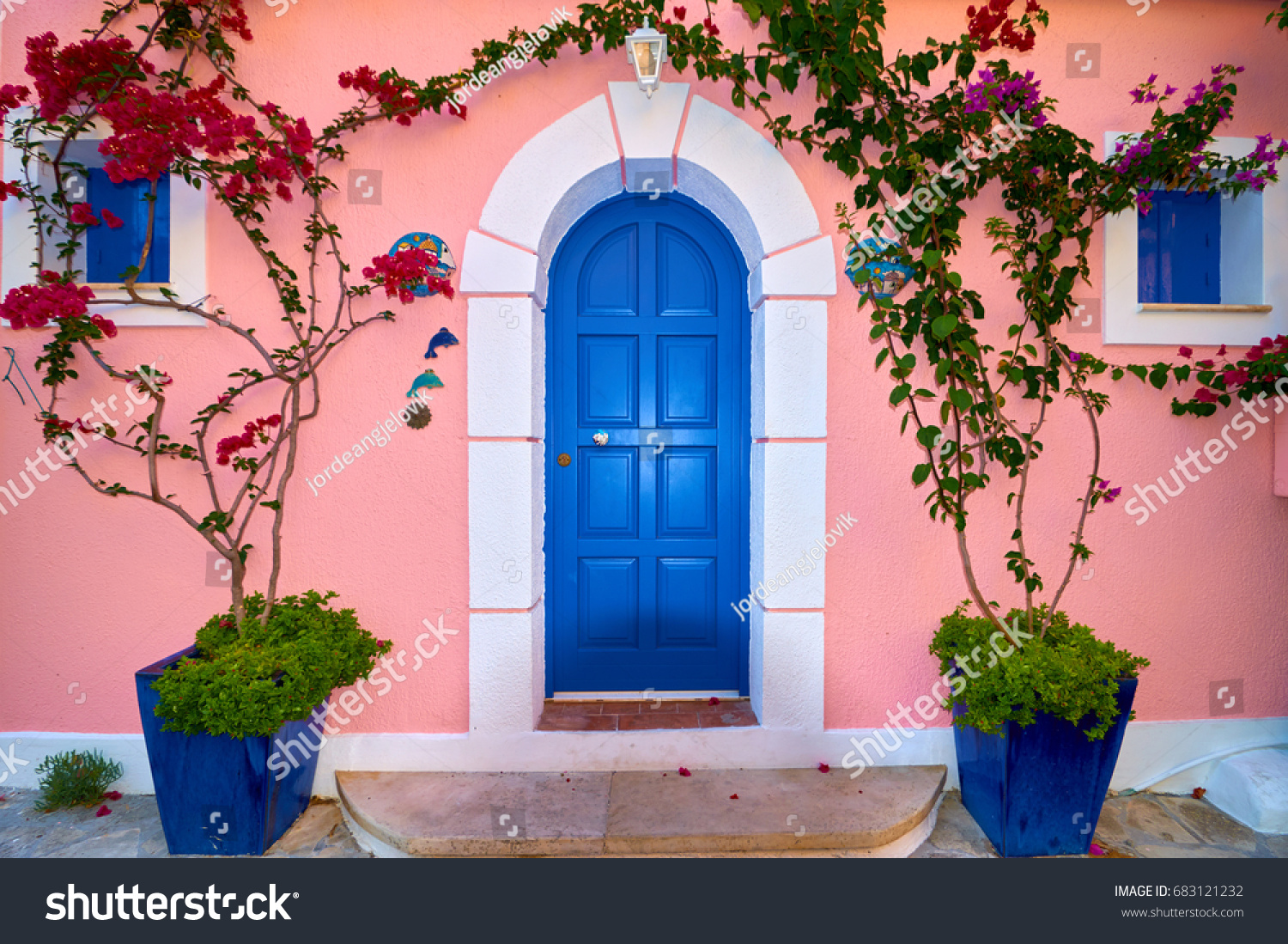 blue door house. Traditional Greek House With Blue Door And Windows, Assos Village In Kefalonia Island, Greece