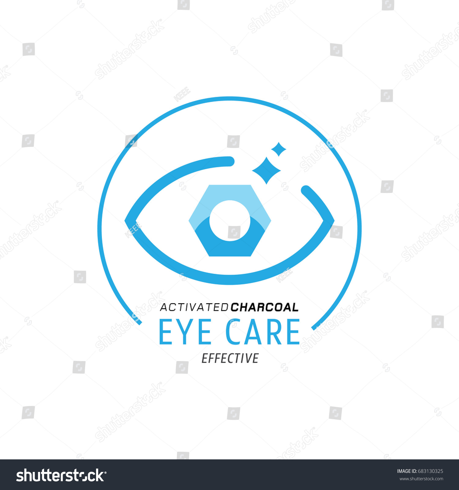 benefit logo. eye care logo design benefit of activated charcoal with hexagonal shaped