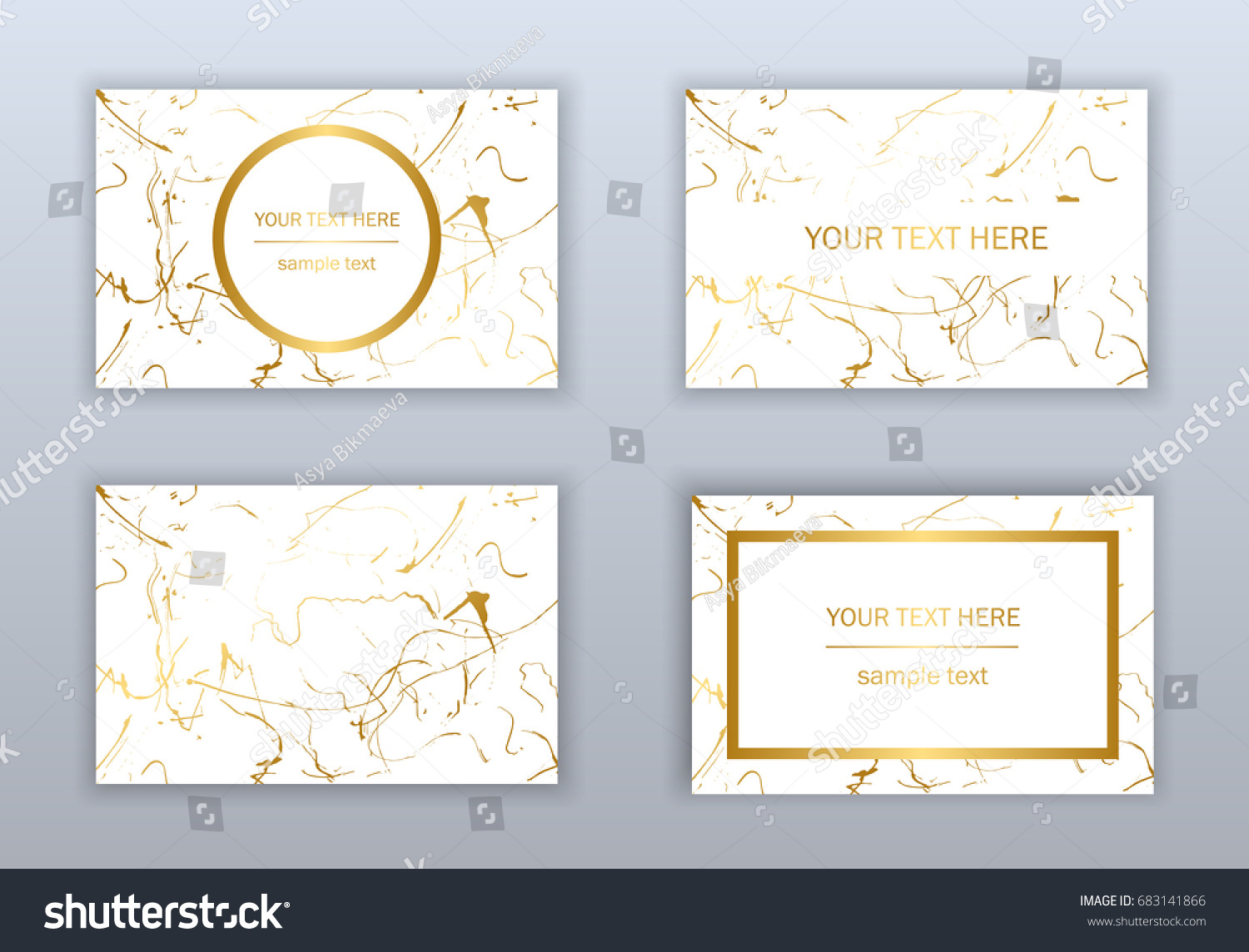 Set White Black Gold Business Cards Stock Vector Royalty Free