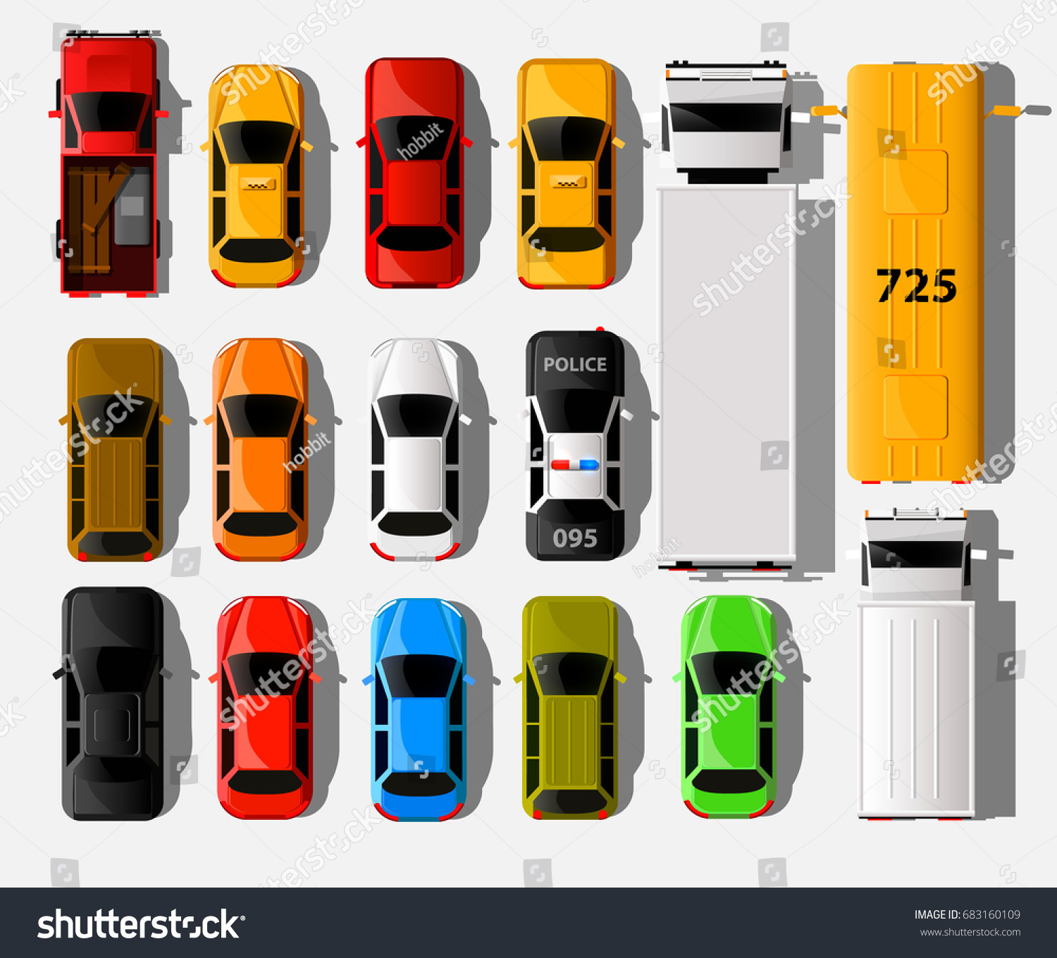 Cars Top View City Vehicle Transport 스톡 벡터 683160109