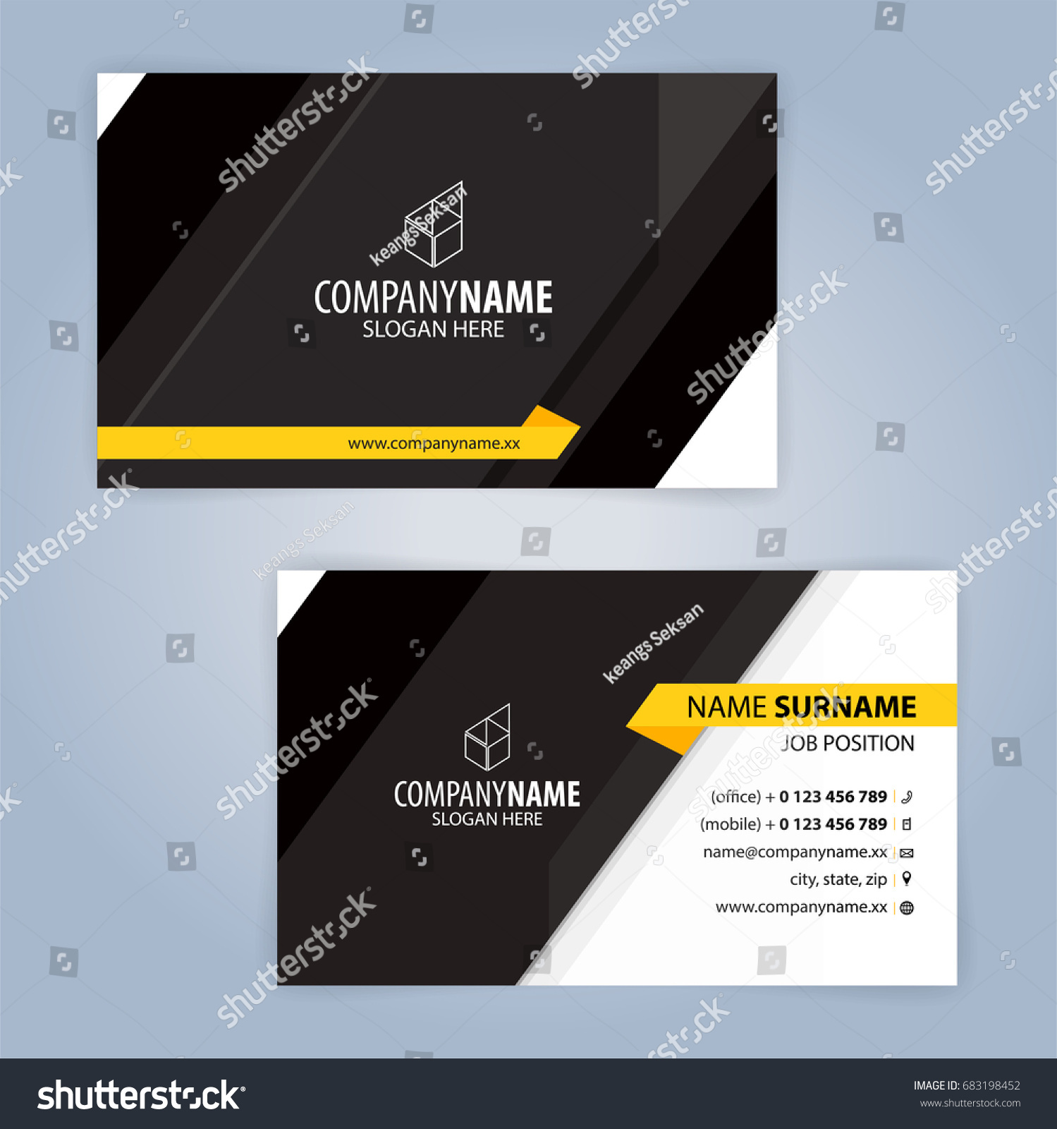 Yellow black modern business card template stock vector 683198452 yellow and black modern business card template illustration vector 10 magicingreecefo Gallery
