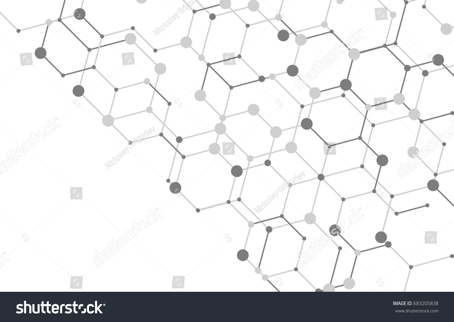 Exceptional Geometric Lines And Dots. Line Pattern. Modern Cube Background. Cell  Abstraction. Connection