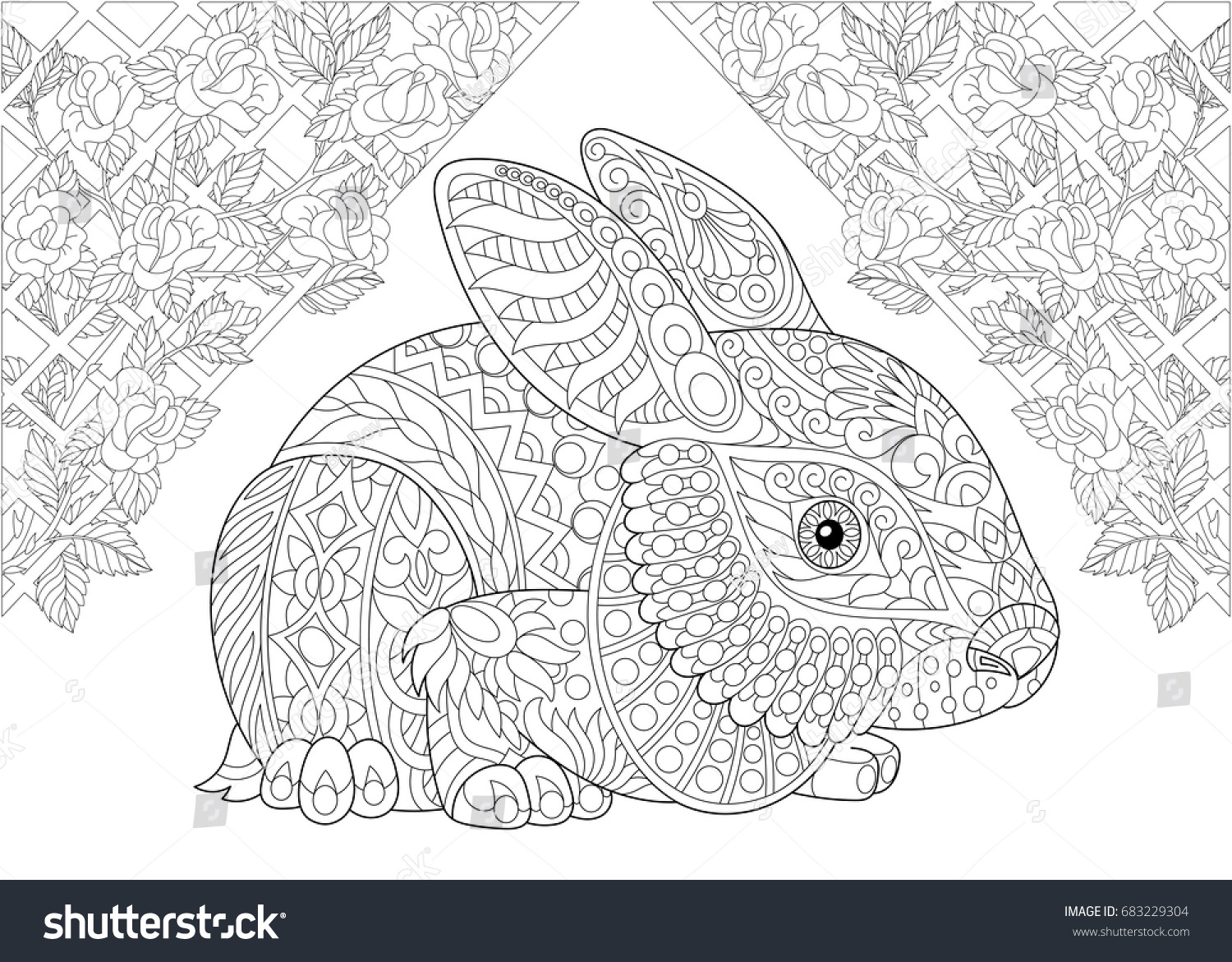 Coloring Page Rabbit Wonderland Rose Flowers Stock Photo (Photo ...