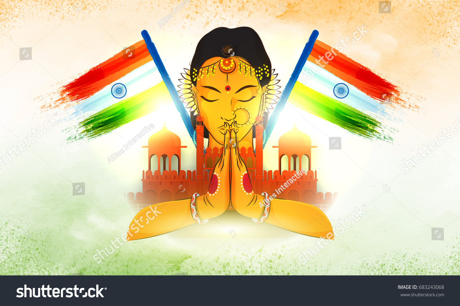 Red Fort Indian National Flags Illustration Stock Vector Royalty