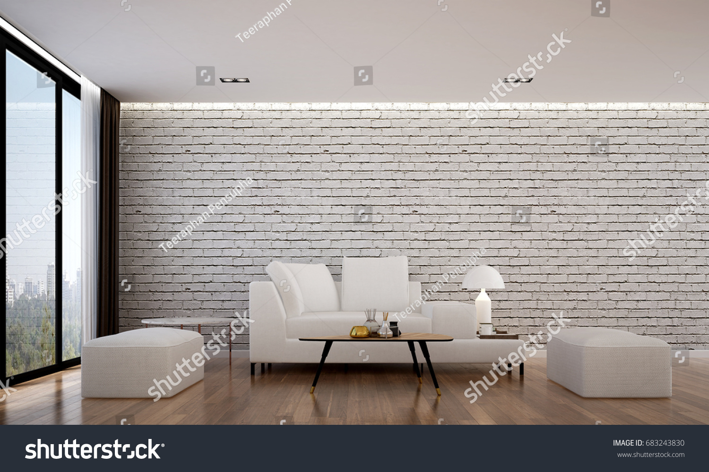 3 D Rendering Interior Luxury Living Room Stock Illustration ...