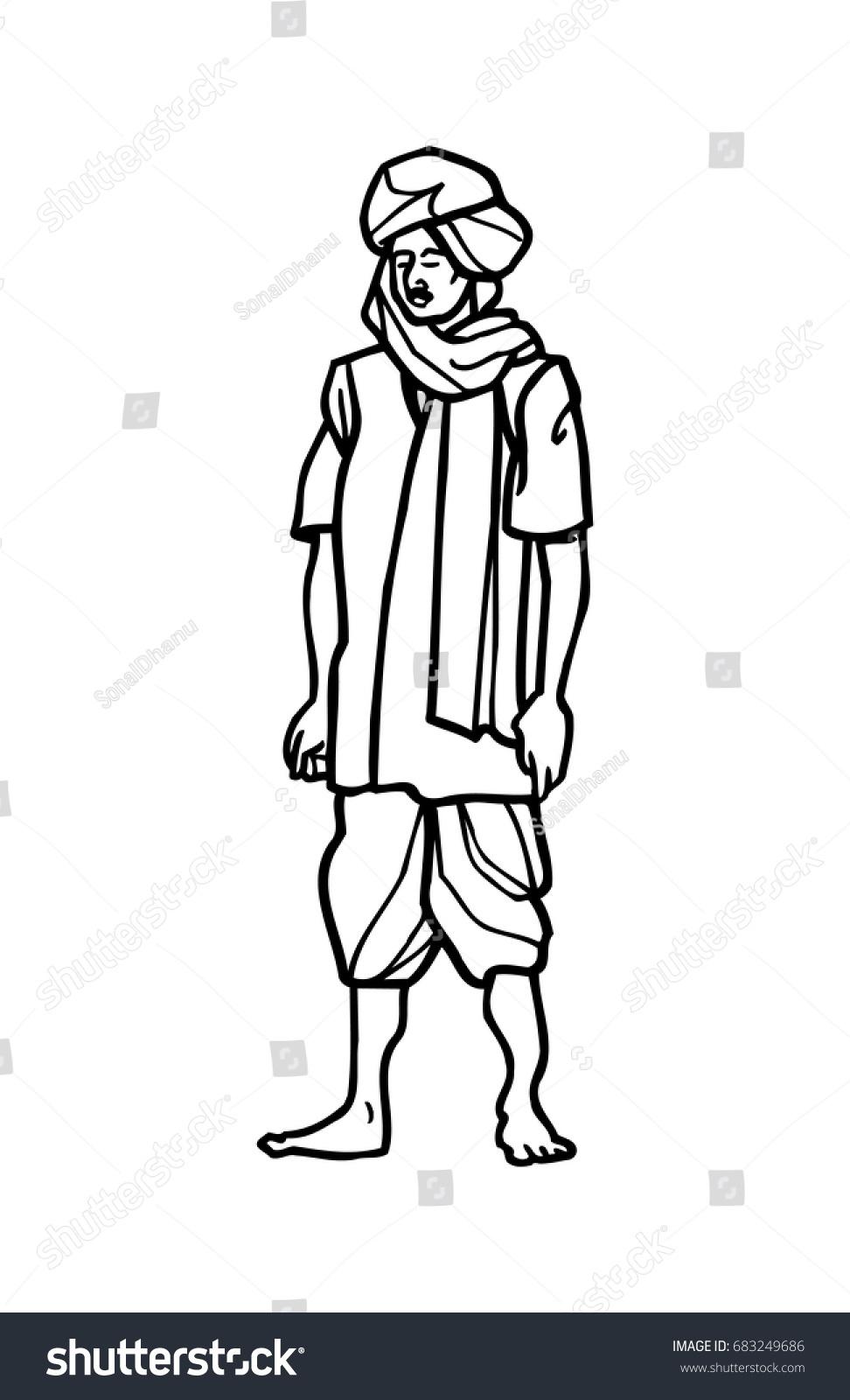 Indian farmer sketch