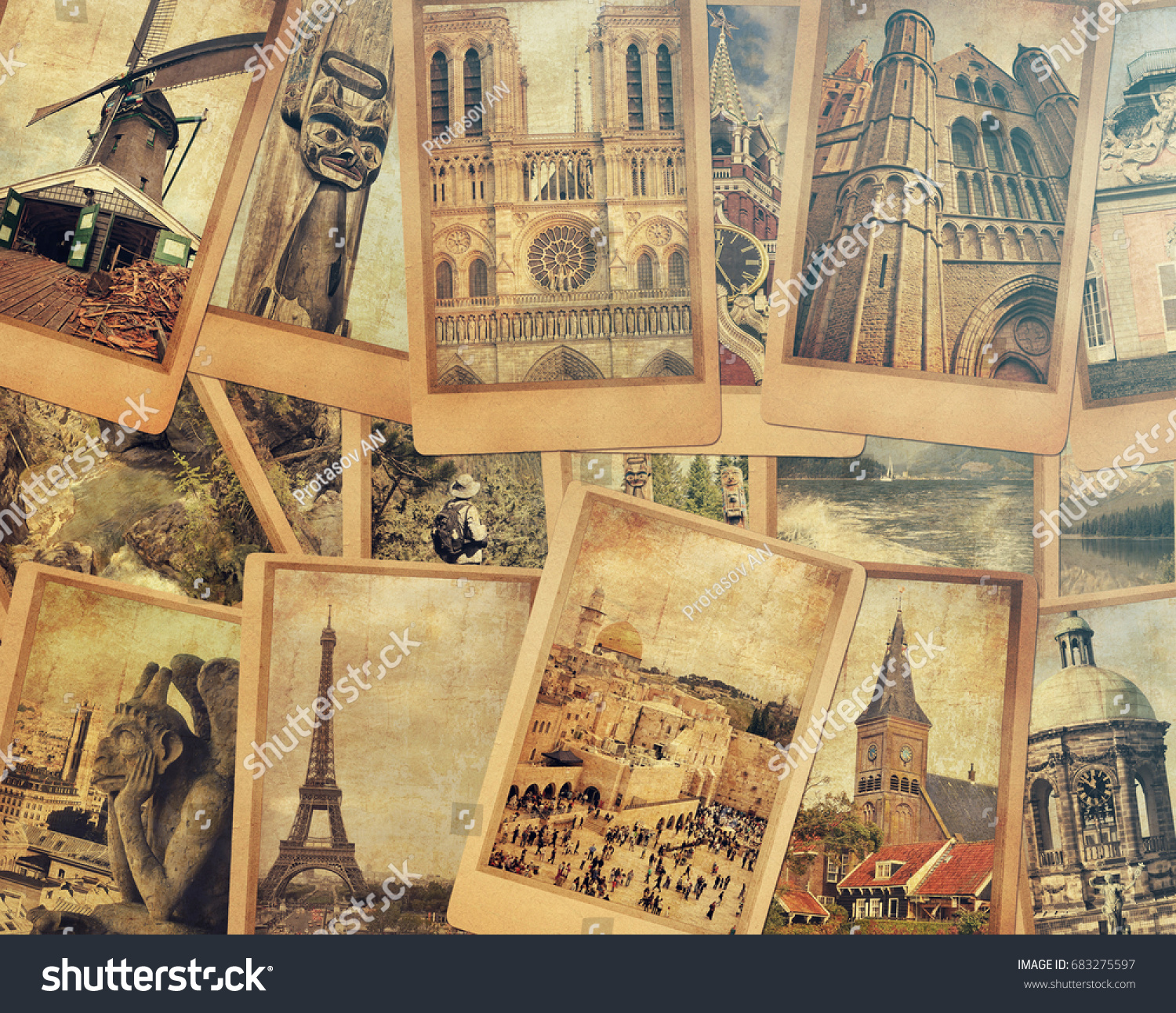 Vintage Cards Collage Old Stock Royalty Free