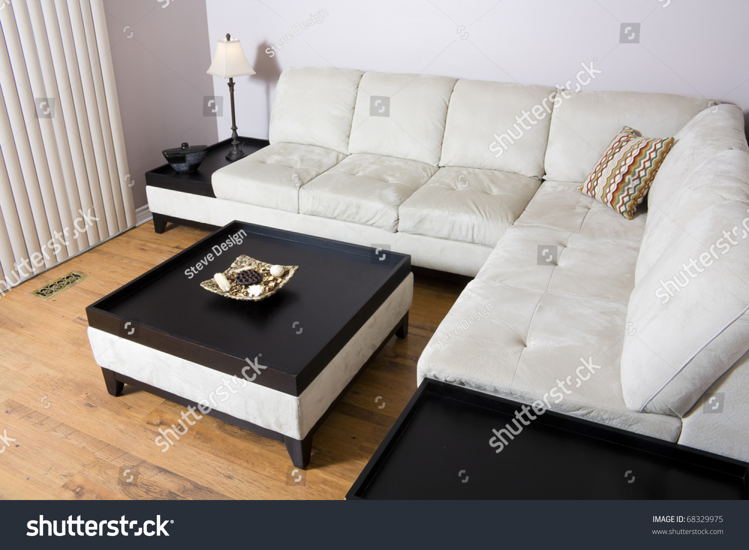 Living room setting sectional couch coffee stock photo 68329975 living room setting with sectional couch and coffee table geotapseo Images