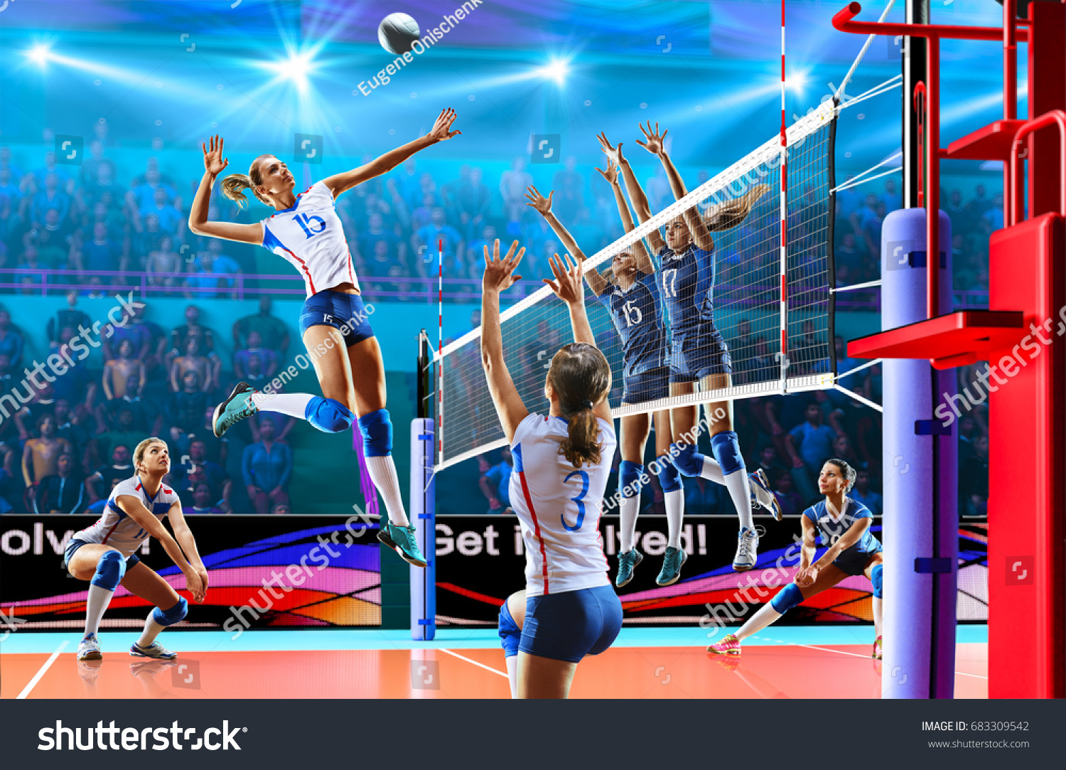 Active Young Women Volleyball Player Sport Stock Vector: Female Professional Volleyball Players Action On Stock