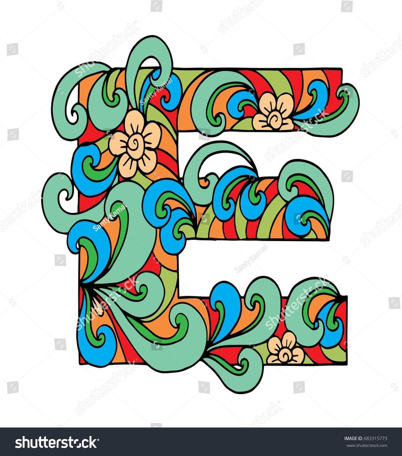 Zentangle Stylized Alphabet Letter E Doodle Stock Vector (Royalty ...