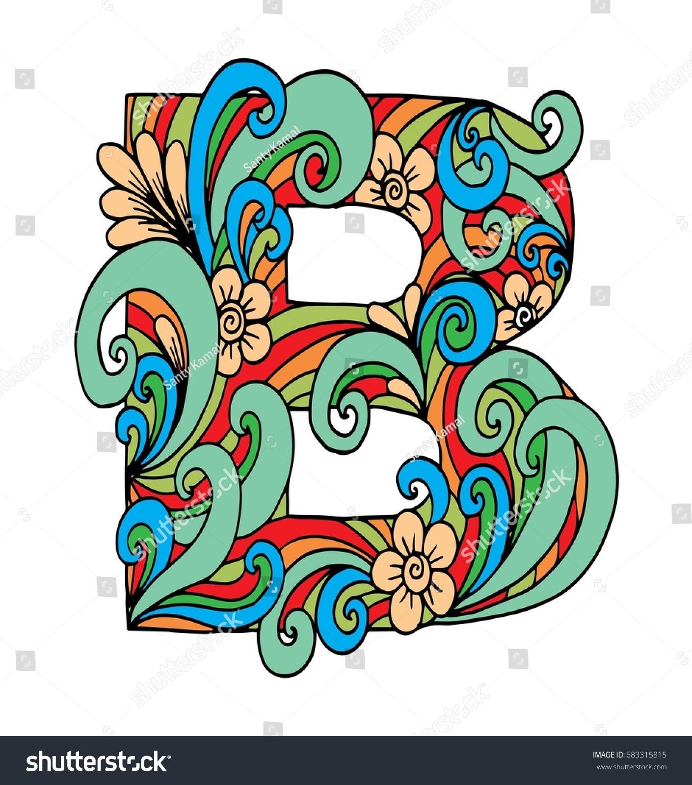 Zentangle Stylized Alphabet Letter B Doodle Stock Vector (Royalty ...