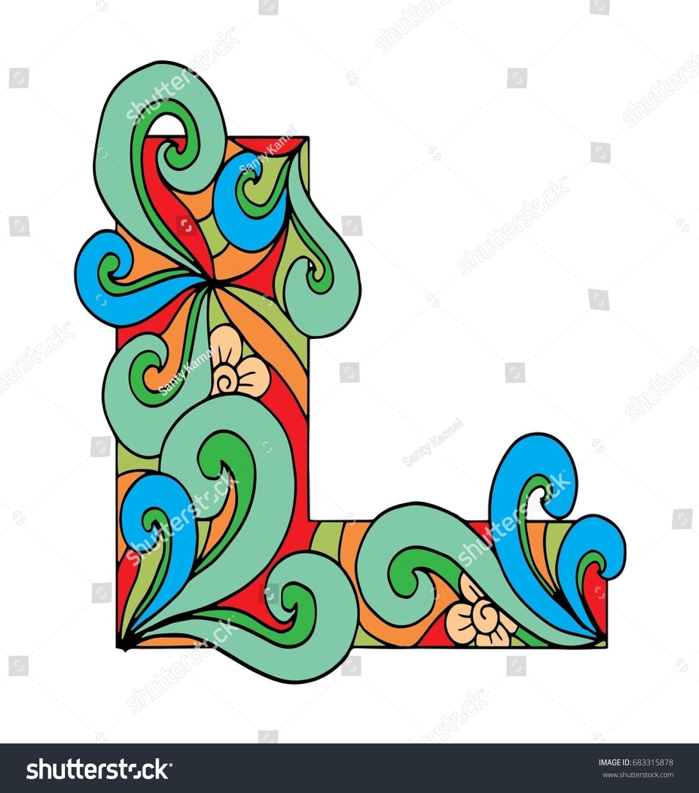 Zentangle Stylized Alphabet Letter L Doodle Stock Vector (Royalty ...