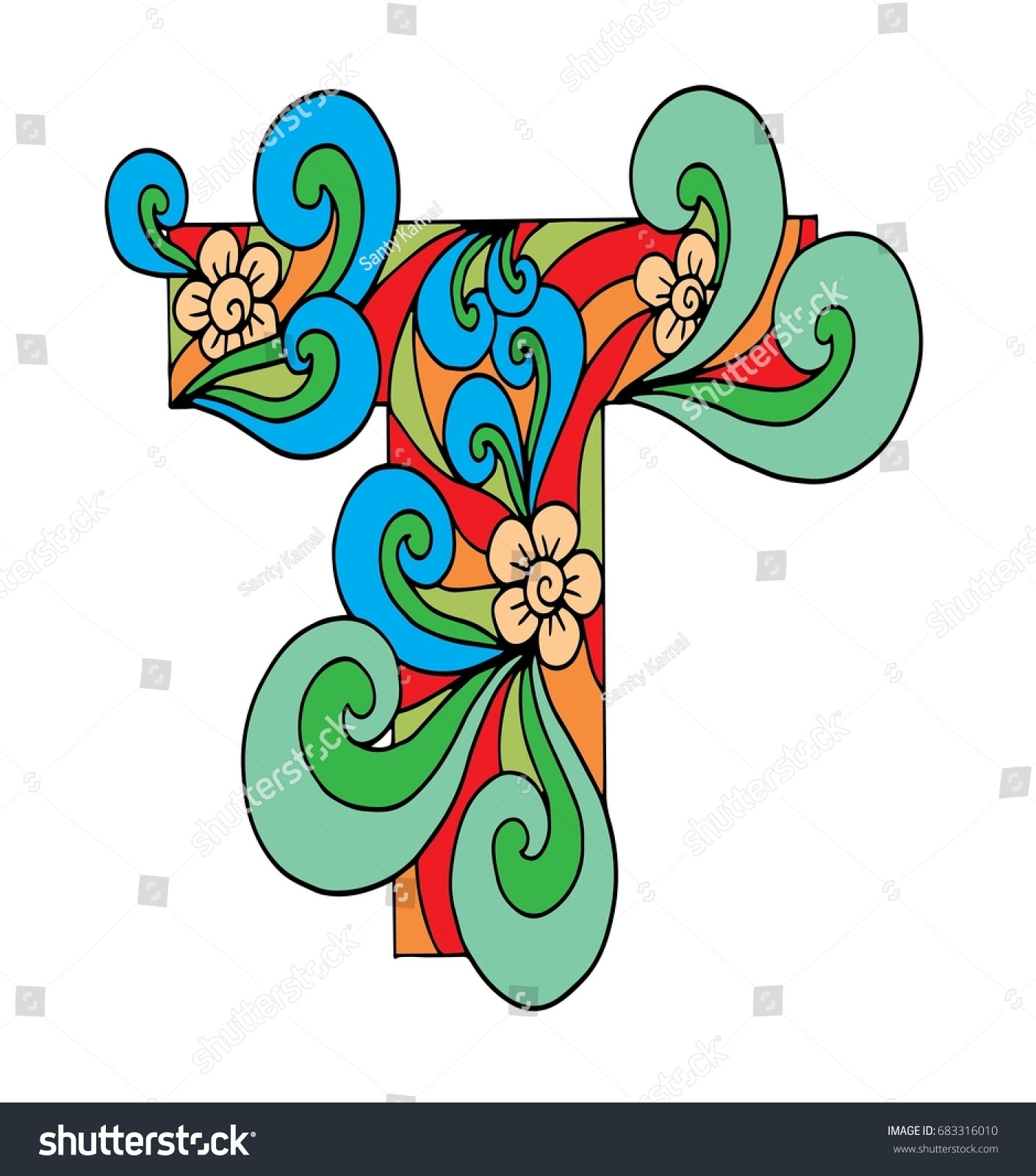 Zentangle Stylized Alphabet Letter T Doodle Stock Vector (Royalty ...