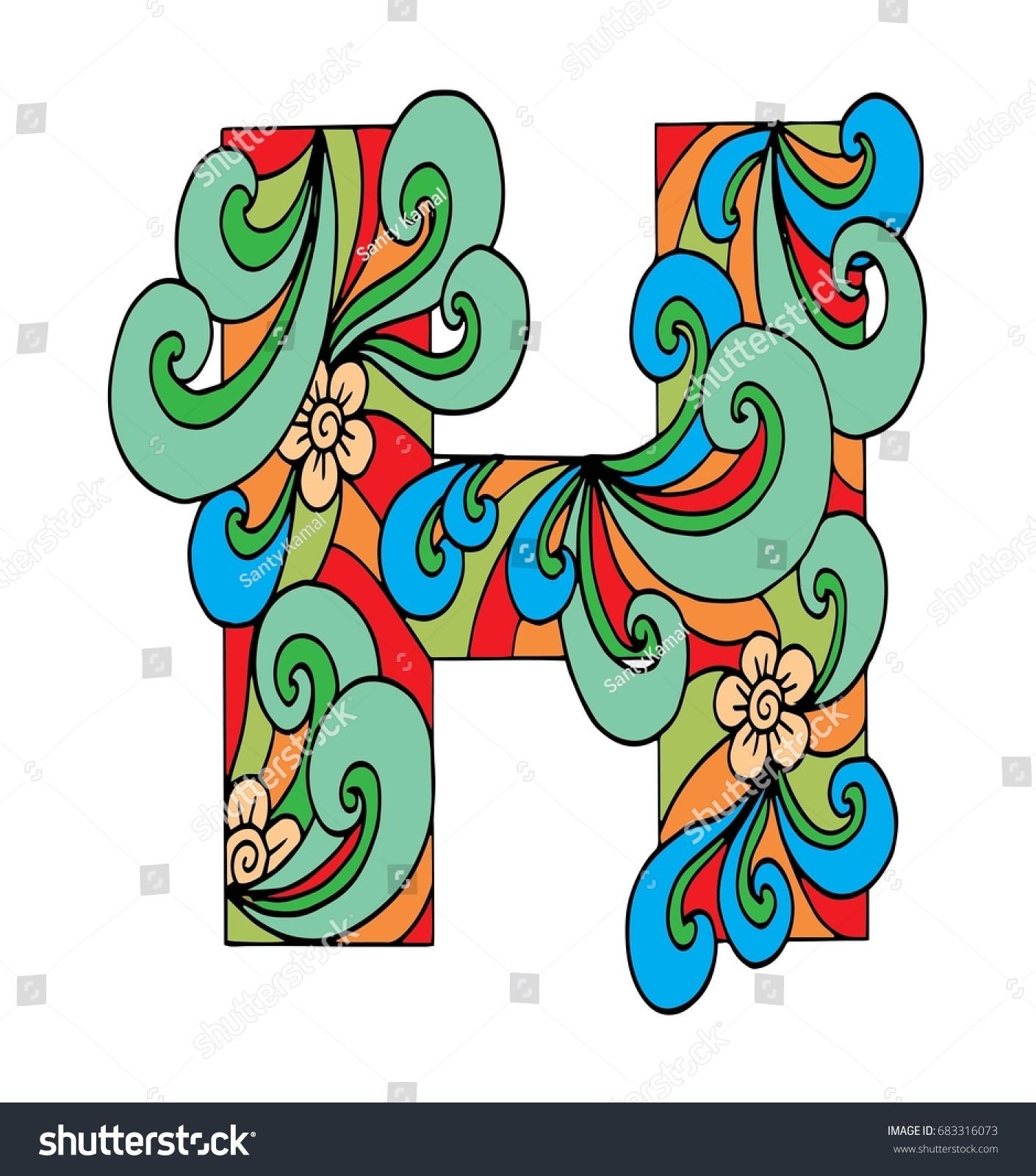 Zentangle Stylized Alphabet Letter H Doodle Stock Illustration ...