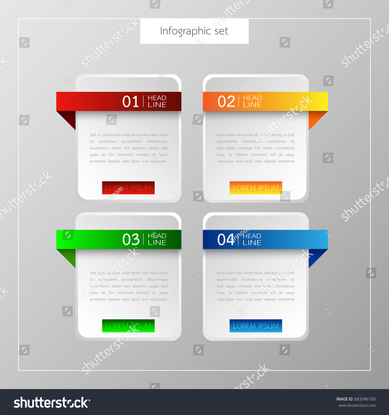 Banners Infographics Template Set Colorful Tabs Stock Vector ...
