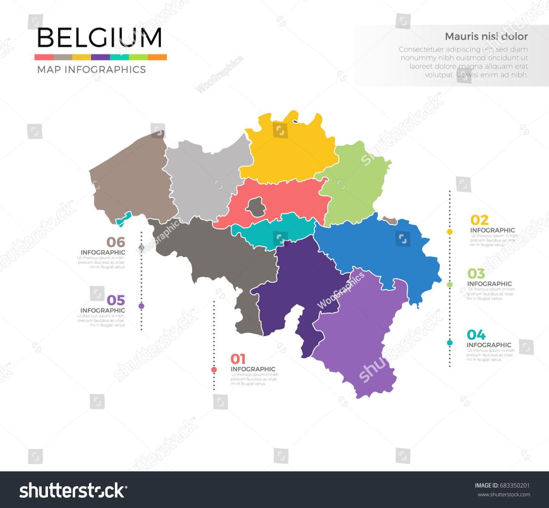 Belgium Country Map Infographic Colored Vector Stock Vector - Belgium regions map
