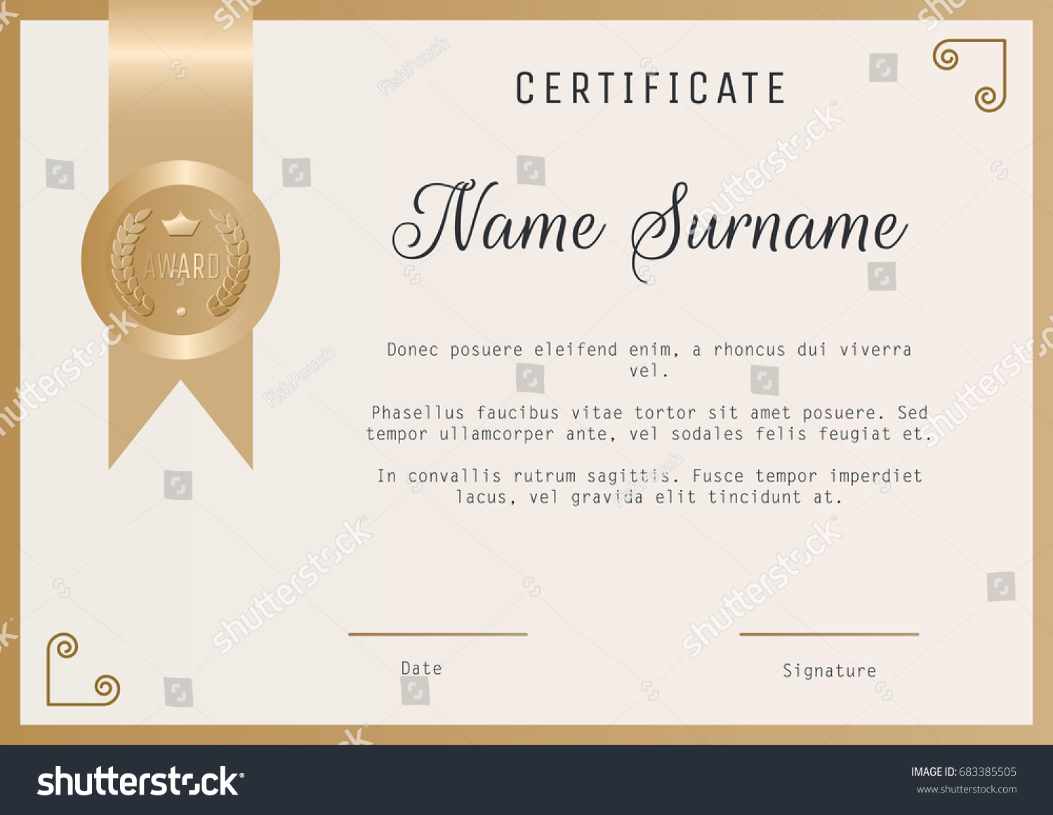 Certificate award template vector blank gold stock vector 683385505 certificate award template vector blank in gold colors alramifo Gallery