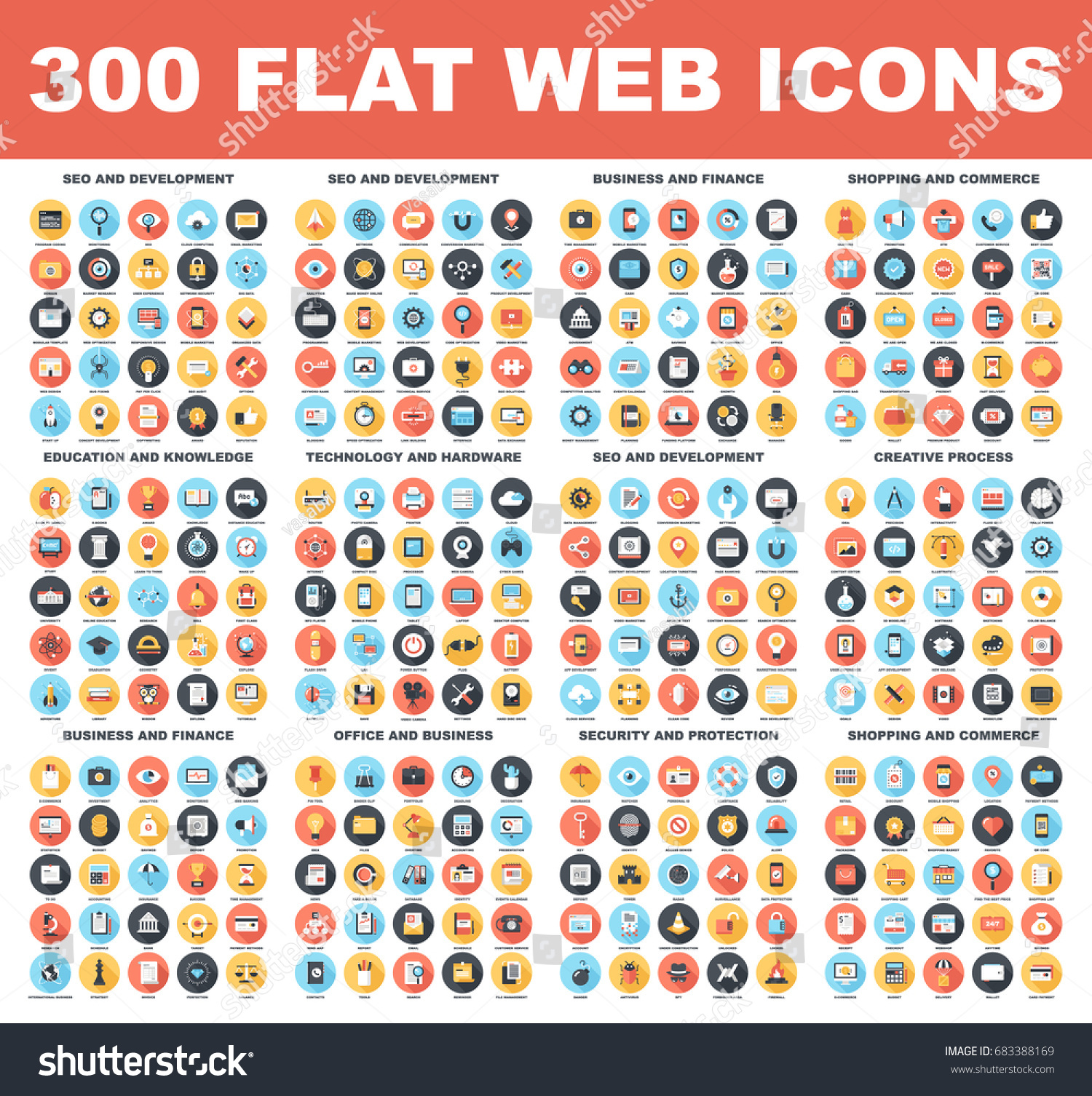300 Flat web icons - SEO and development, creative process, business and finance, office and business, security and protection, shopping and commerce, education and knowledge, technology and hardware #683388169