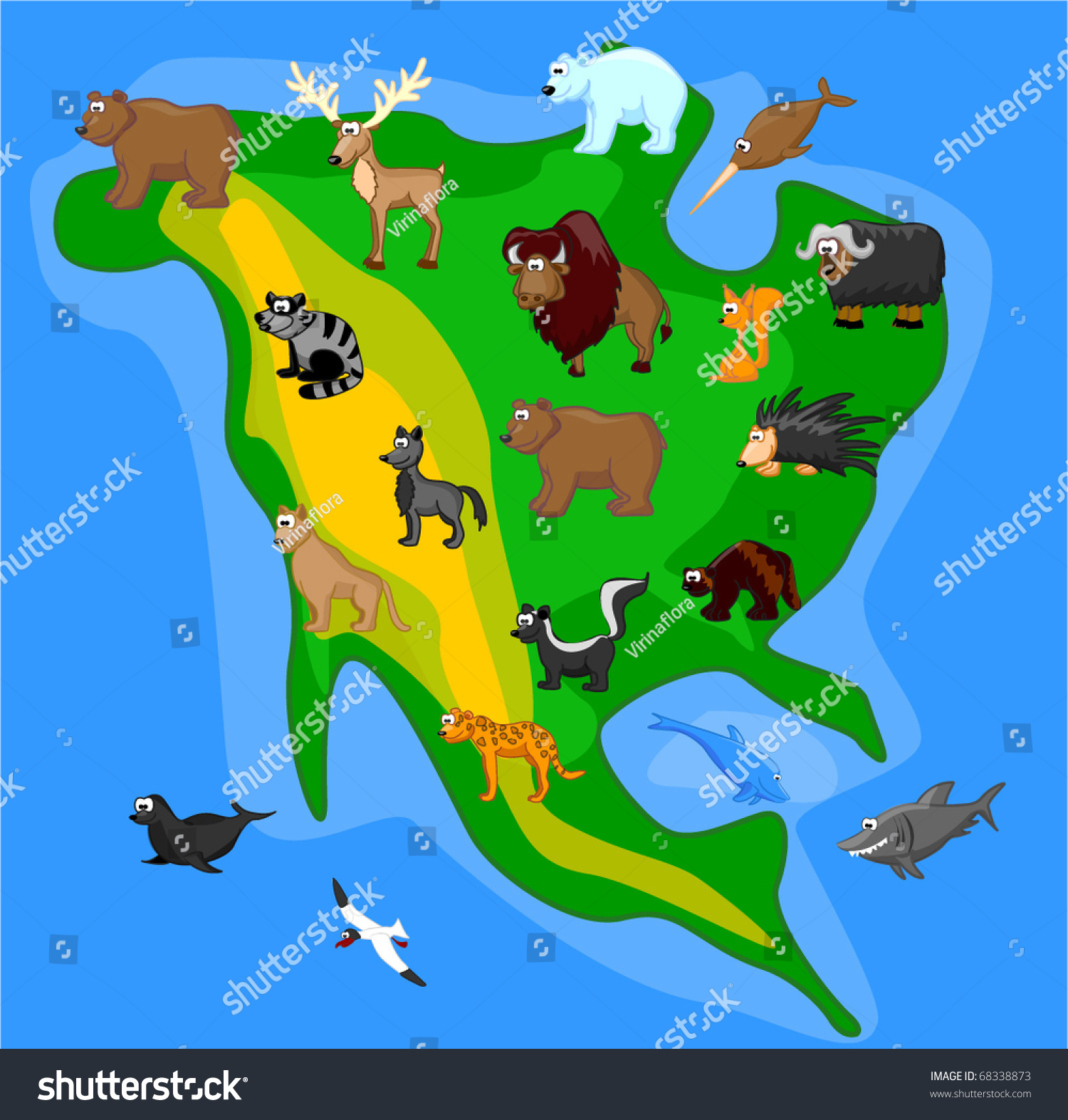 where do polar bears live map with Stock Vector Animals Of North America Including Grizzly Bears Caribou Polar Bears Raccoons Bison Porcupine on 23 Fact Tuesday Polar Bear as well Animal Facts Sea Otter furthermore 1426205112 further Fauna additionally Omnivores.