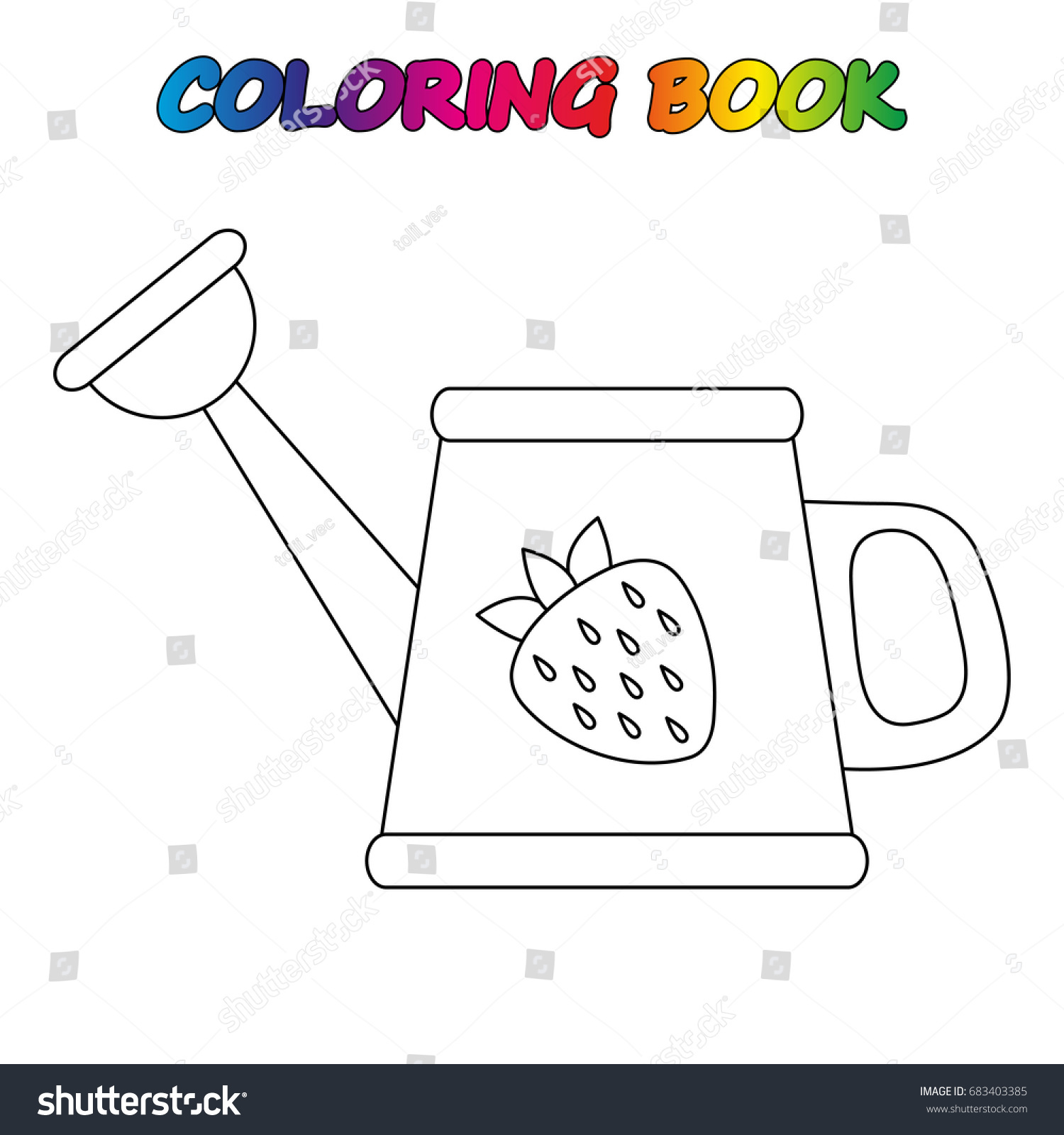 Watering Can Coloring Book Coloring Page Stock Vector (2018 ...
