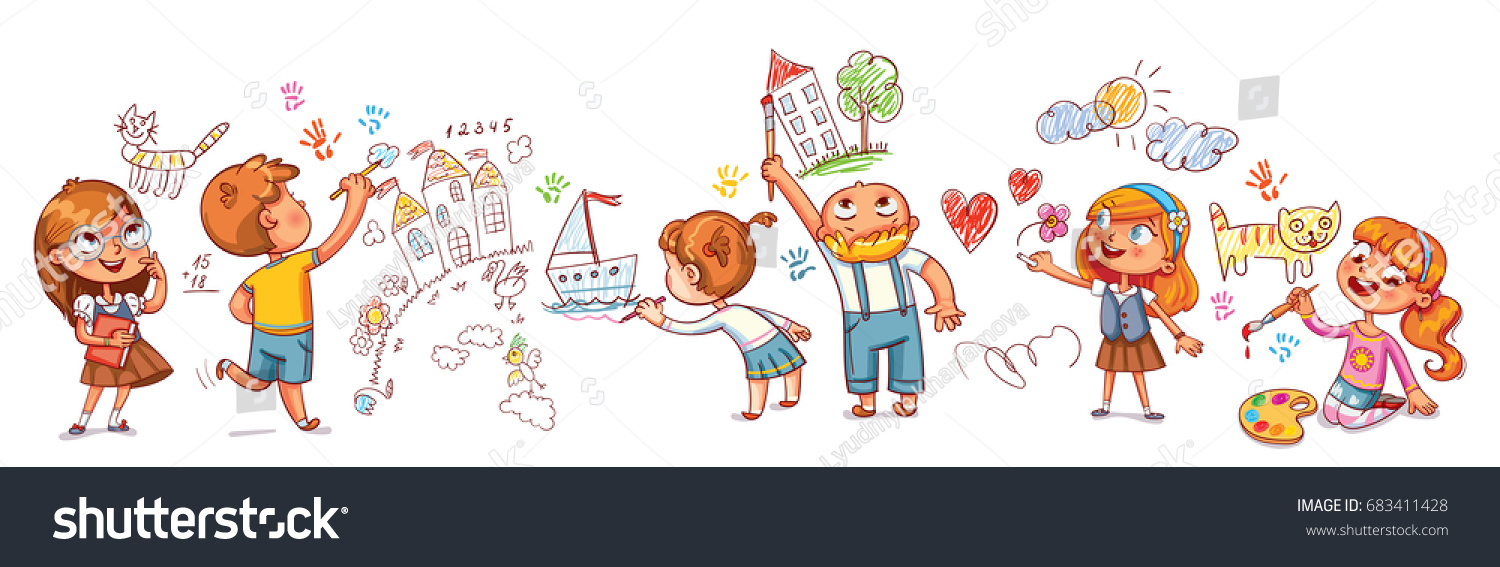 Cute Kids Paint Drawings On Wall Stock Vector (Royalty Free ...