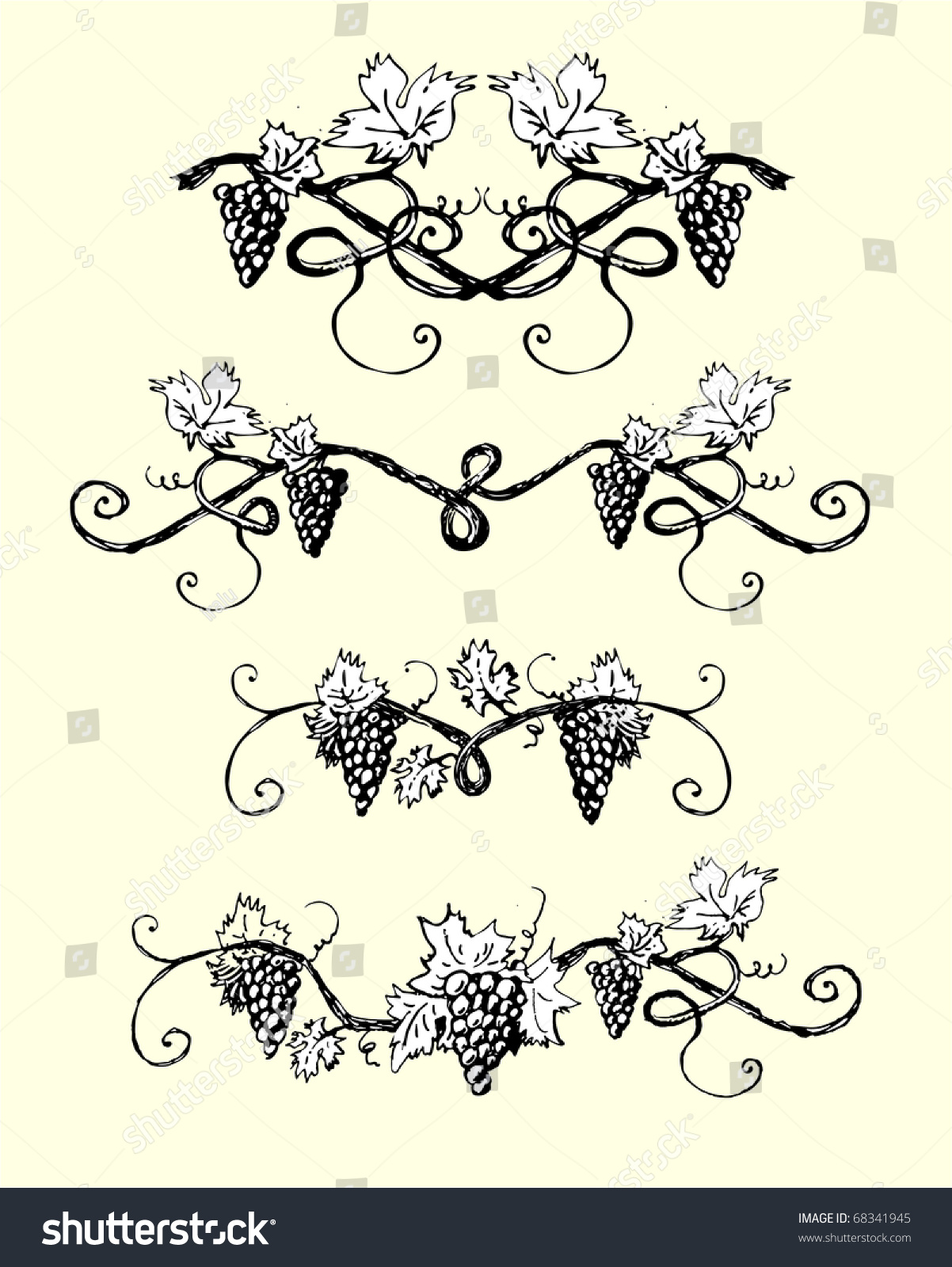 Decoration For Project Design Ornaments Vector Vines Perfect Adding Stock Vector 68341945