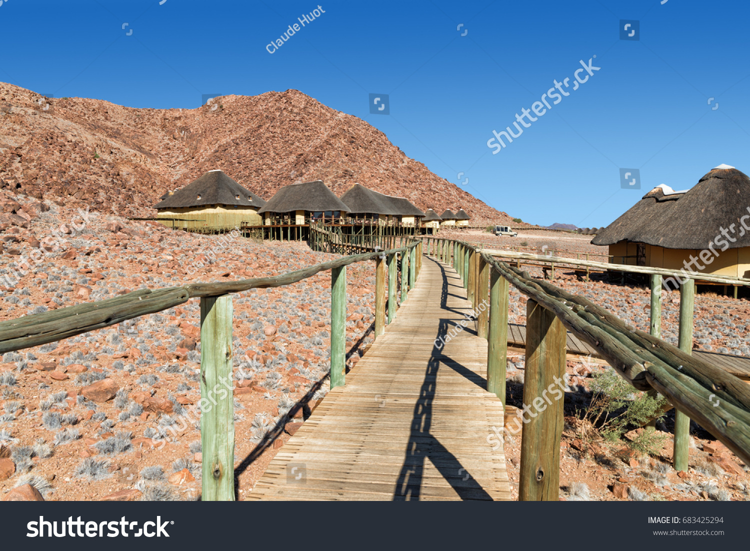 SESRIEM, NAMIBIA - SEPTEMBER 04, 2015: The Sossus Dune Lodge is the only lodge inside the Namib-Naukluft National Park close to Sossusvlei. All chalets are linked to the main hub by raised walkways.