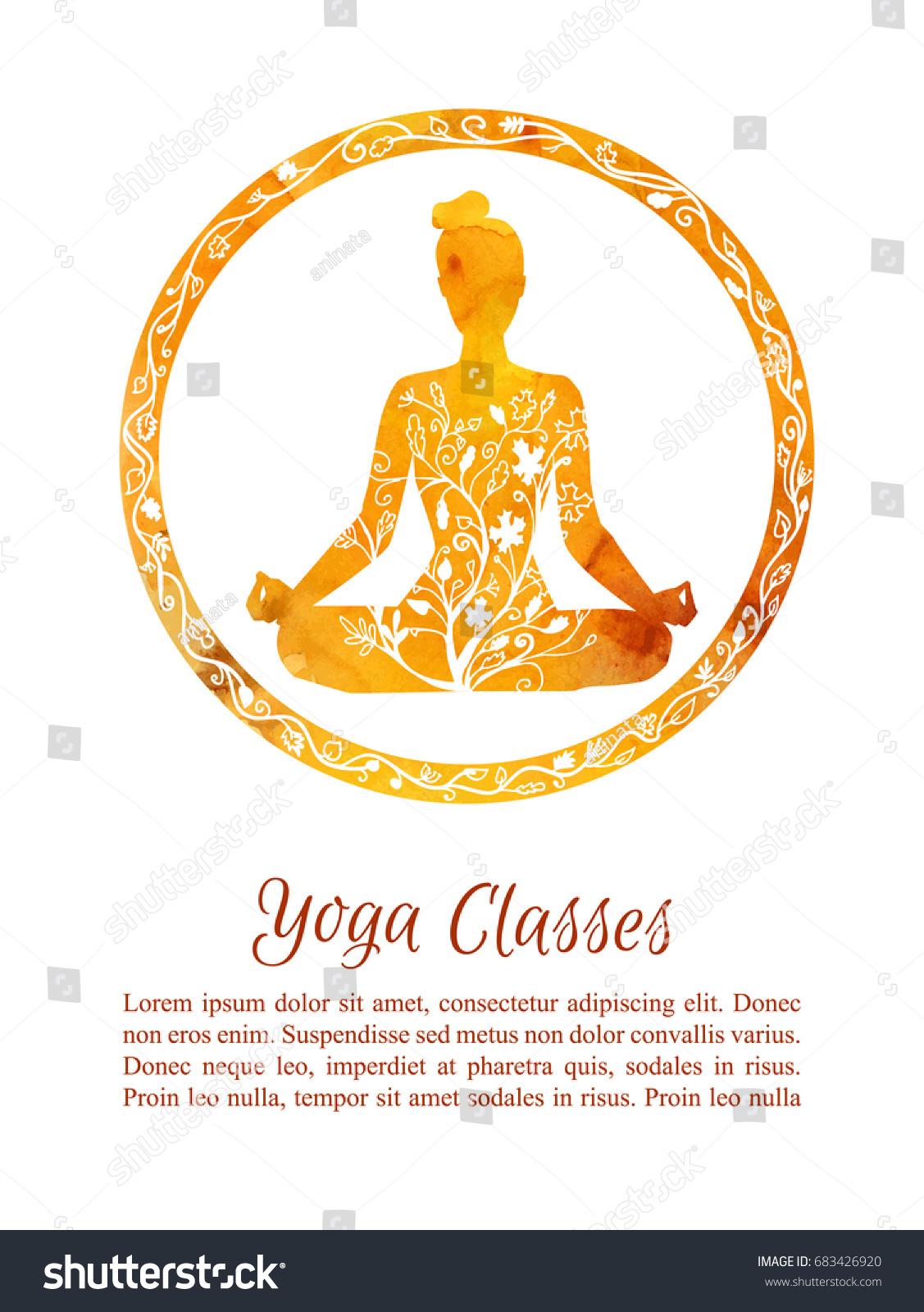 Card Flyer Template Autumn Yoga Classes Stock Photo (Photo, Vector ...