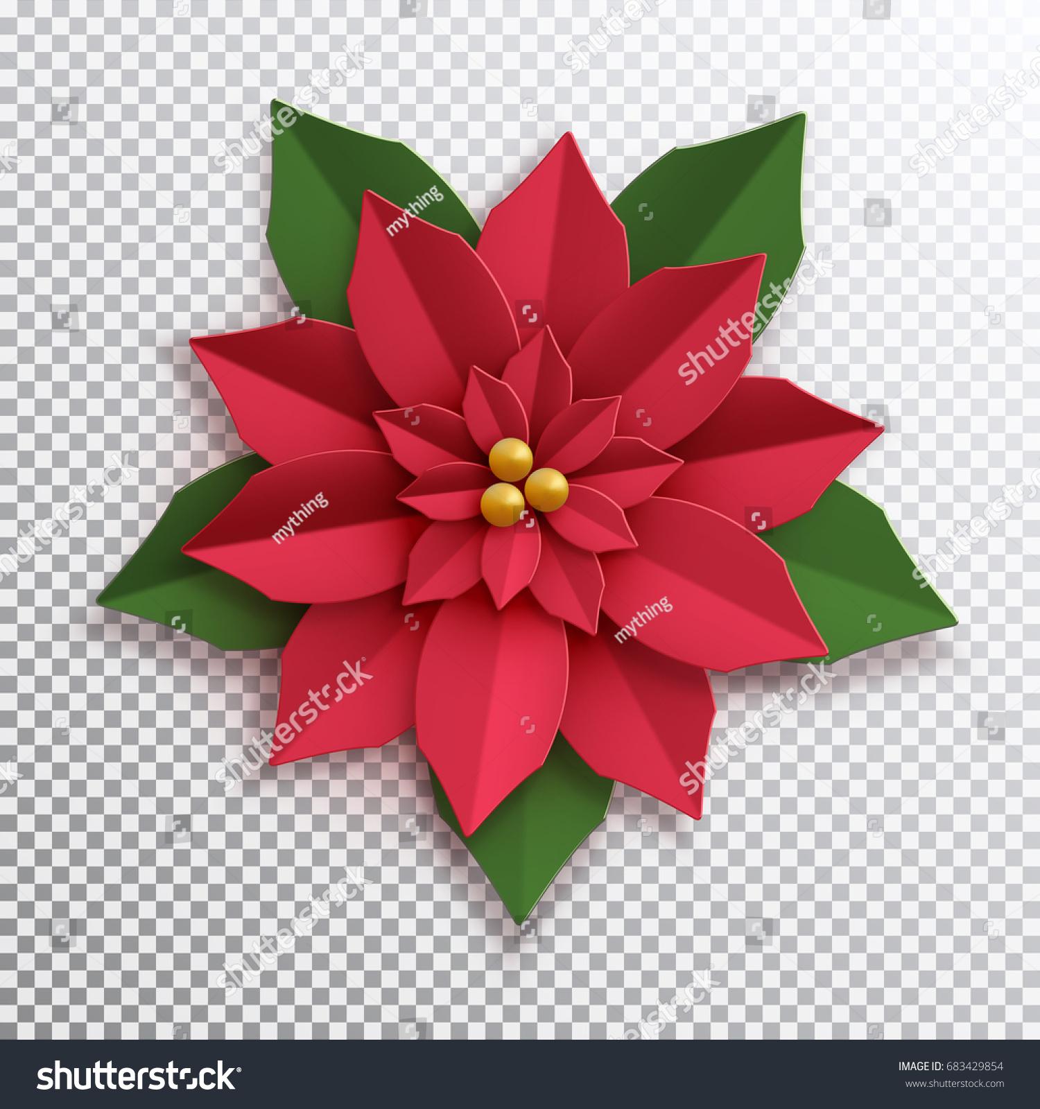 Christmas Star Paper Poinsettia Red Flower Stock Vector 683429854