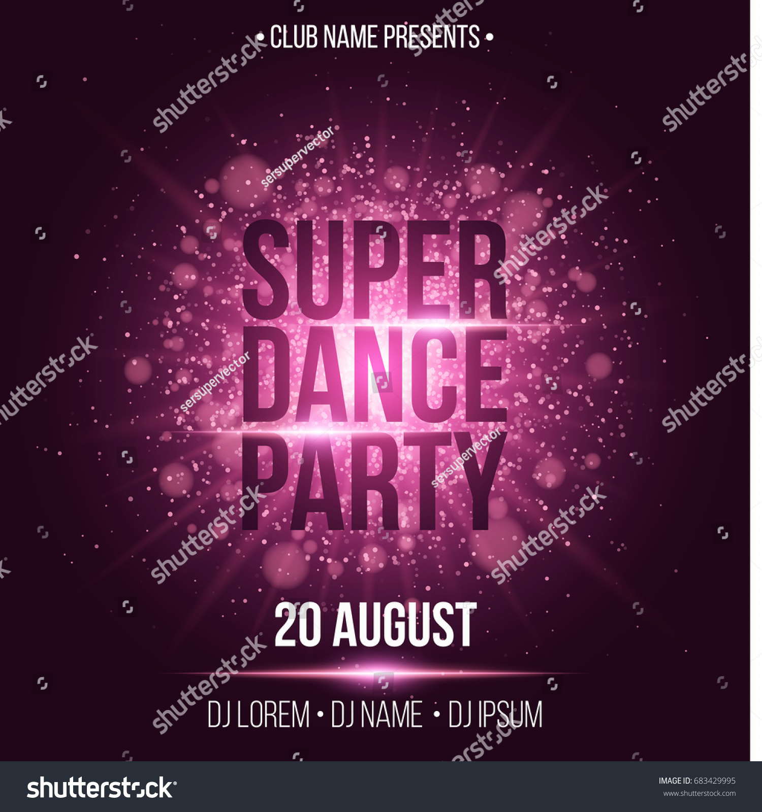 Super Dance Party Luxurious Invitation Card Stock Vector 683429995 ...