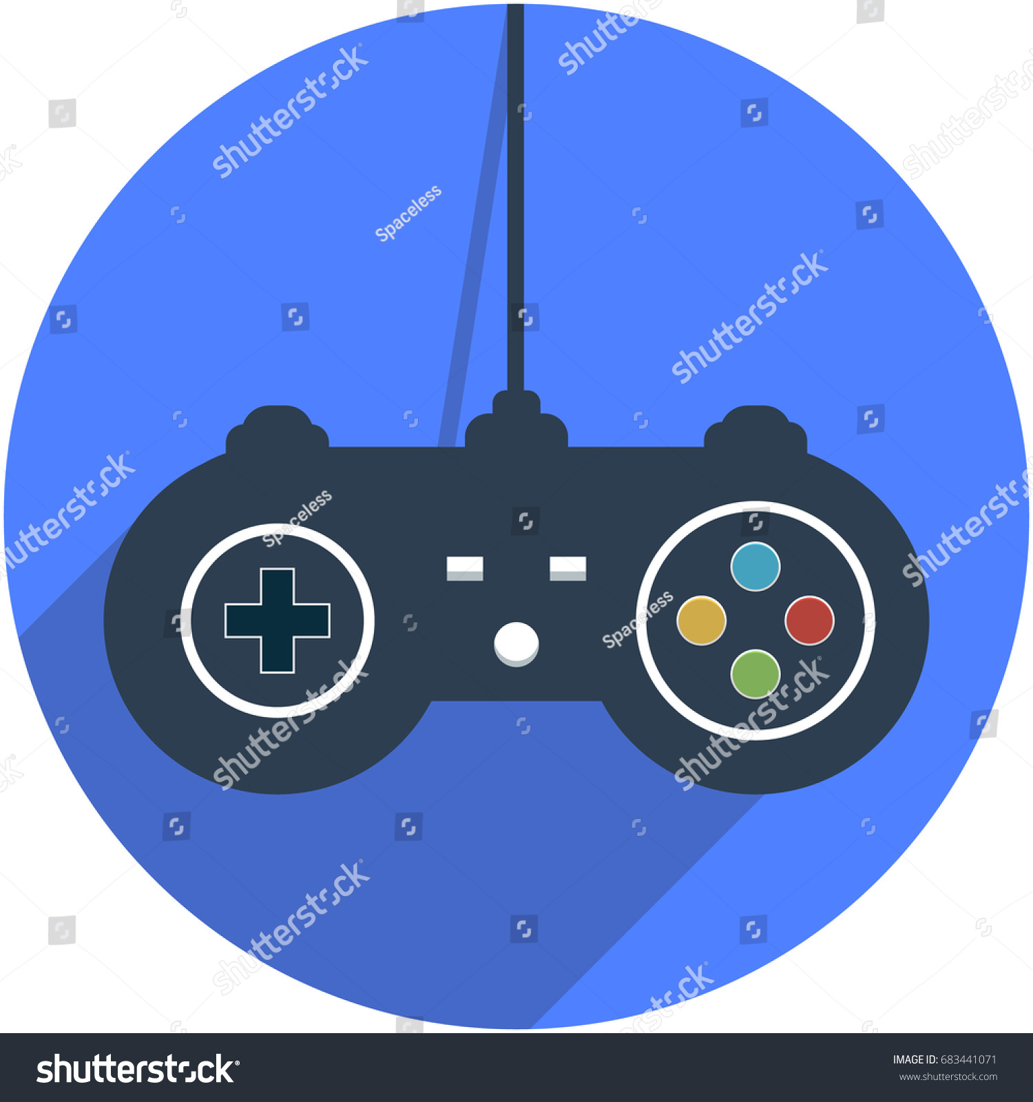 wired game controller icon  vector illustration in flat design with shadow