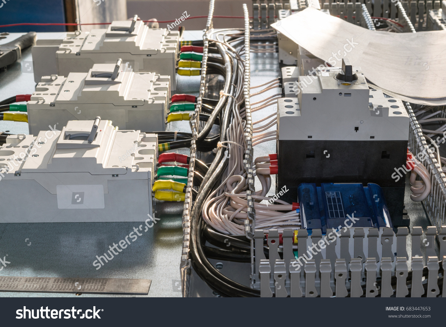On Mounting Panel There Circuitbreakers Circuit Stock Photo Edit Wiring Motor Breaker The Are Breakers And Protection Of