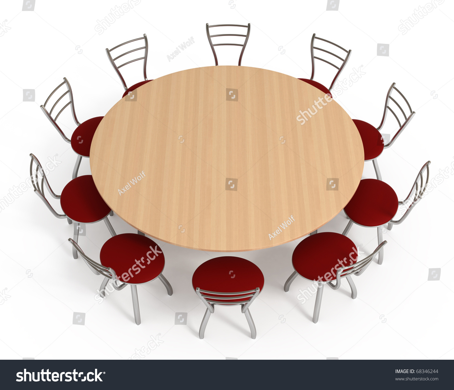 Round Table With Chairs Isolated On White With Clipping Path D - Round table clip art