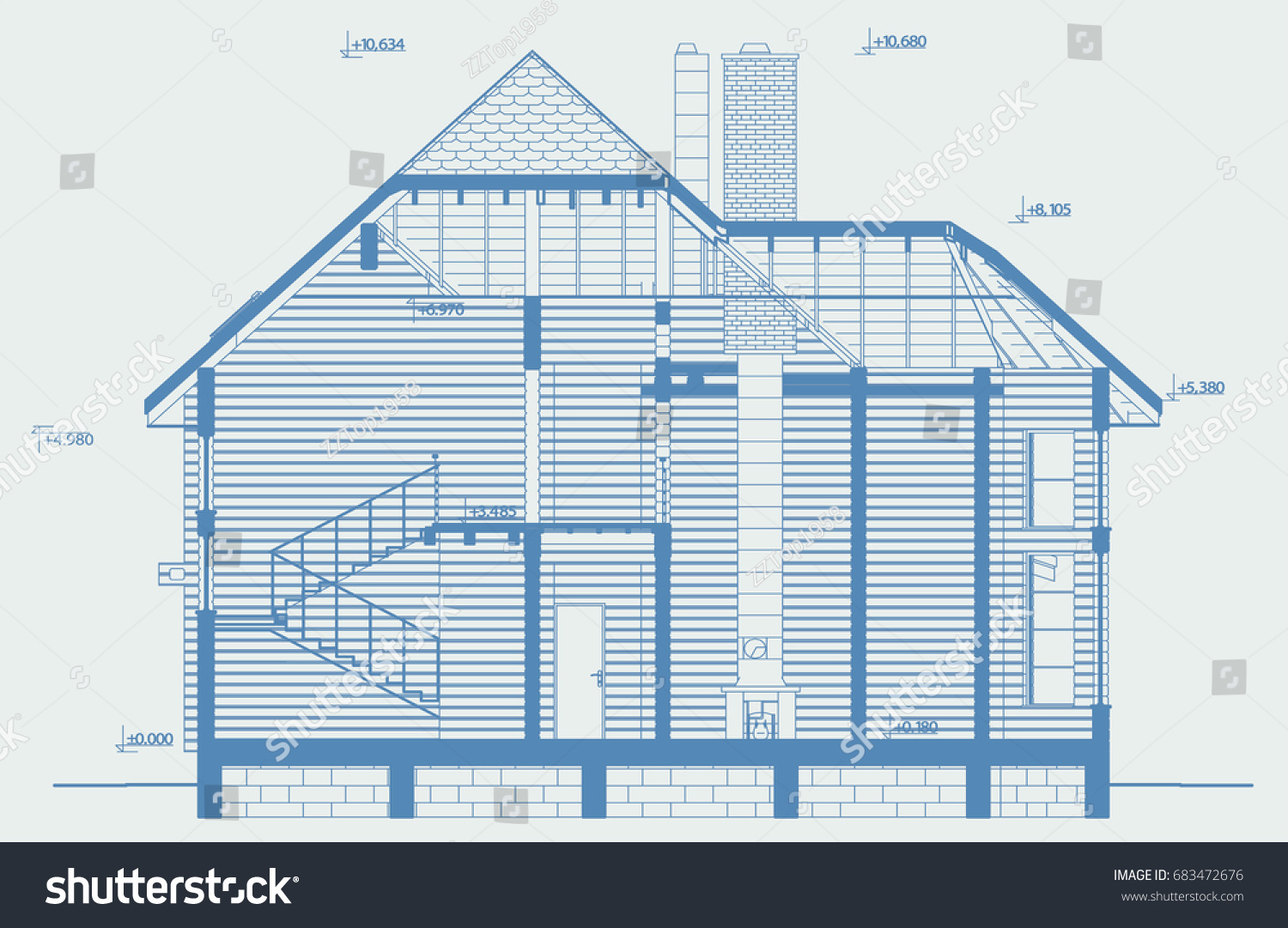Blueprint architectural section residential individual wooden stock blueprint architectural section of residential individual wooden house building from glued beams3d malvernweather Image collections