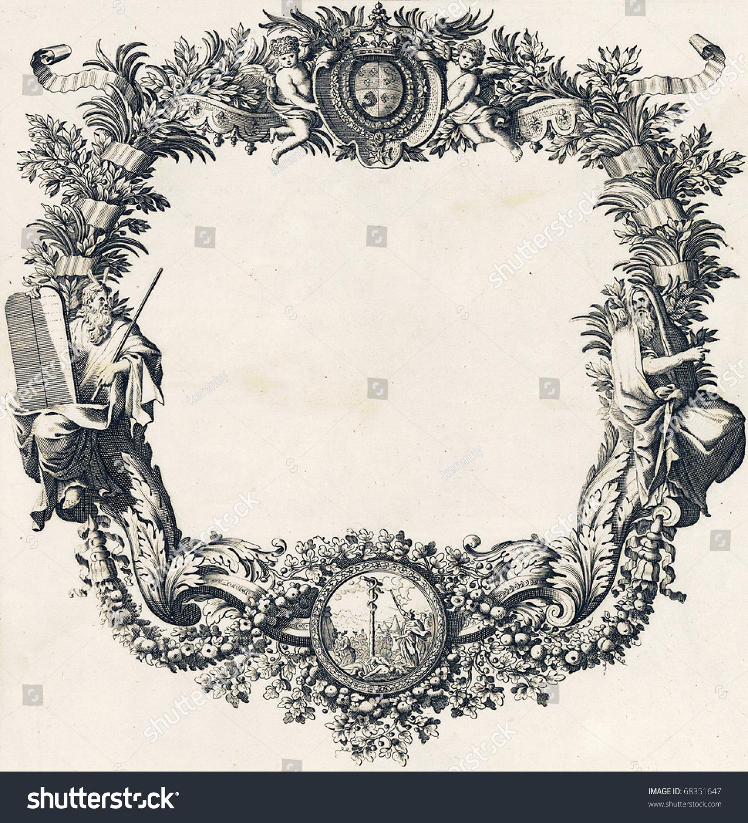 Engravings, Vintage Frame Design Stock Photo 68351647 ...