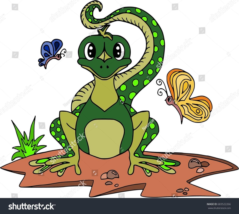 cheerful lizard butterflies cartoon characters isolated stock